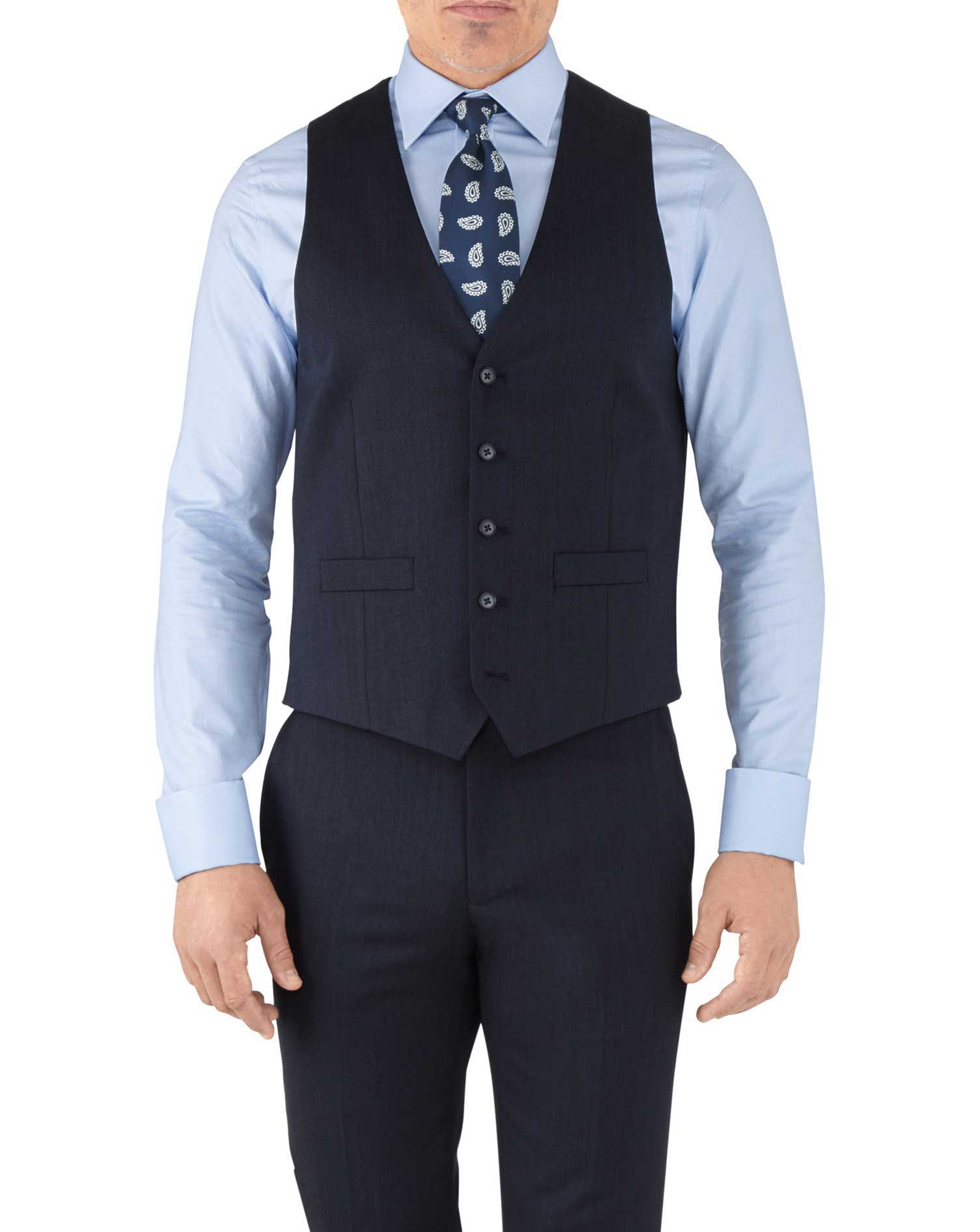 Navy Adjustable Fit Hairline Business Suit Wool Waistcoat Size w46 by Charles Tyrwhitt