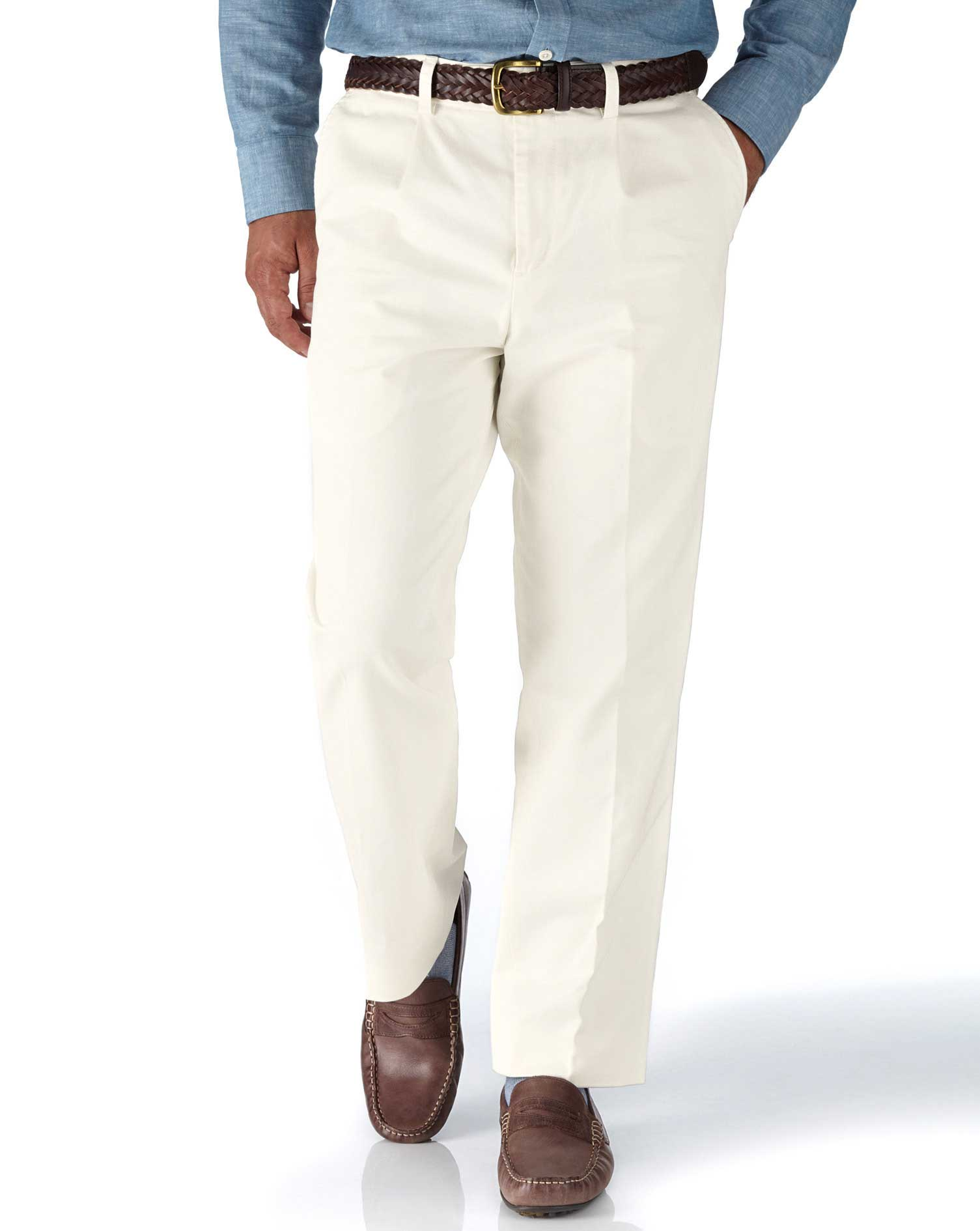 Chalk White Classic Fit Single Pleat Washed Cotton Chino Trousers Size W38 L34 by Charles Tyrwhitt
