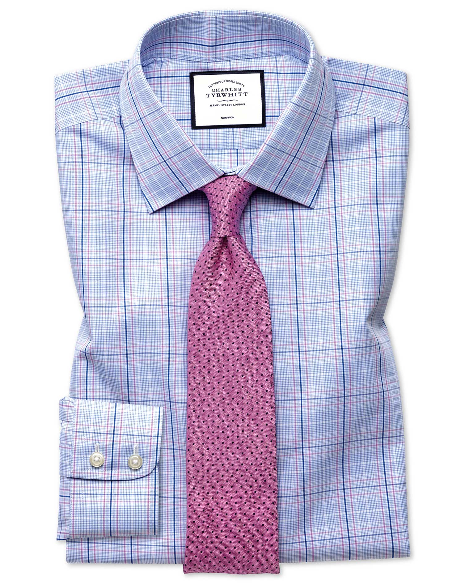 Slim Fit Non-Iron Prince Of Wales Sky Blue and Pink Cotton Formal Shirt Single Cuff Size 16/33 by Ch