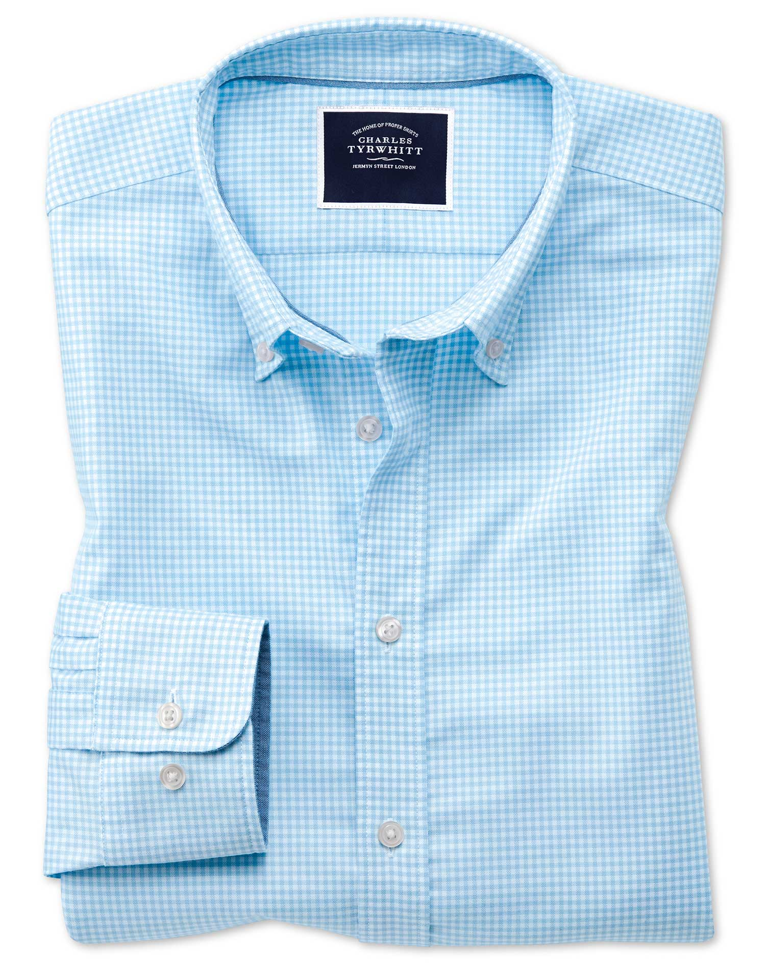 Extra Slim Fit Sky Blue Gingham Soft Washed Non-Iron Stretch Cotton Shirt Single Cuff Size Medium by
