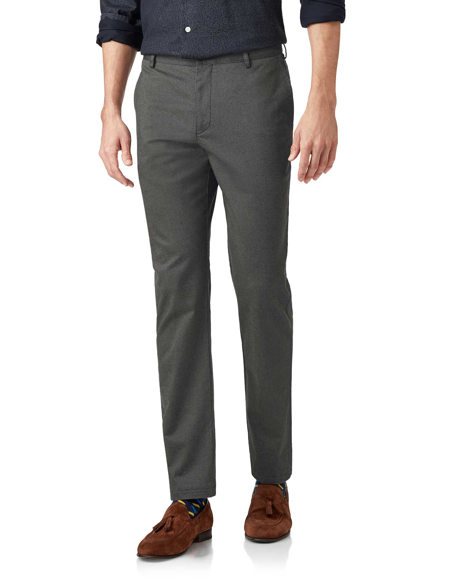 Cotton Grey Brushed Twill Stretch Trousers
