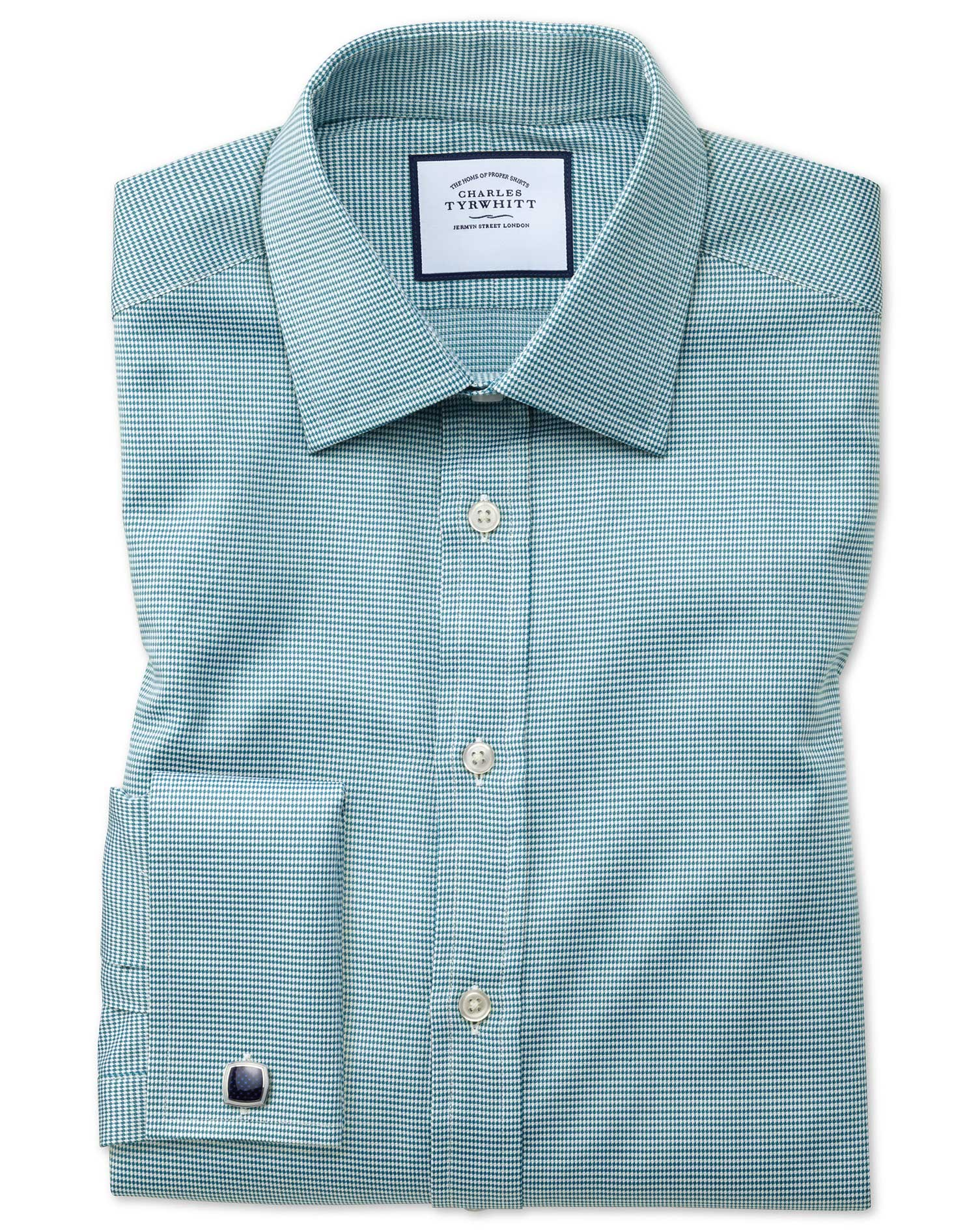 Slim Fit Teal Small Puppytooth Egyptian Cotton Formal Shirt Single Cuff Size 16.5/38 by Charles Tyrw