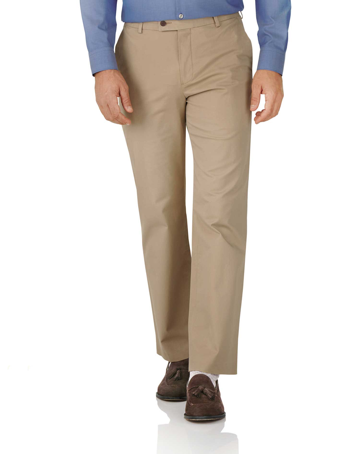 tan classic fit stretch cotton chino pants size w42 l34 by charles tyrwhitt
