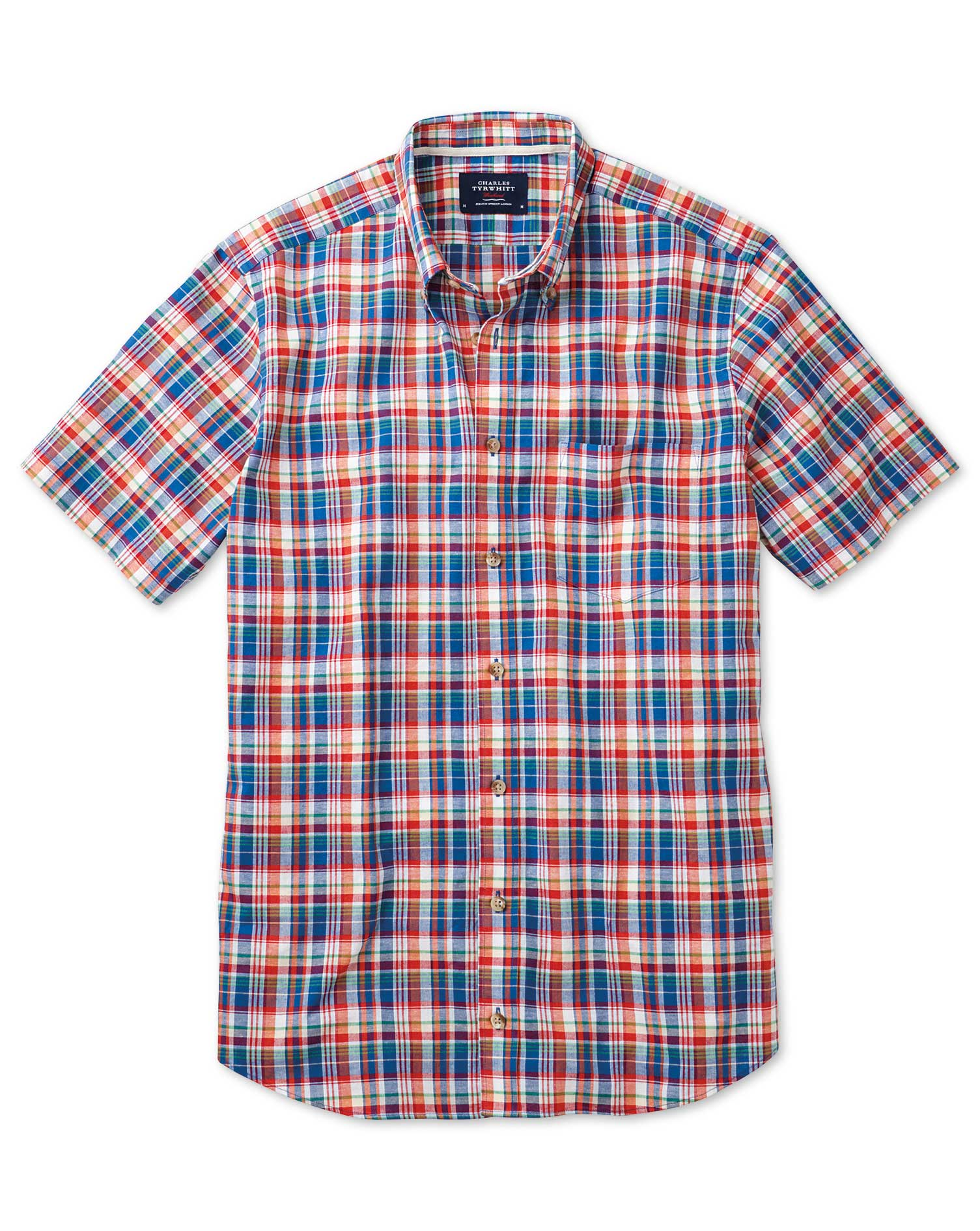 Slim Fit Short Sleeve Orange and Blue Check Shirt Single Cuff Size Small by Charles Tyrwhitt