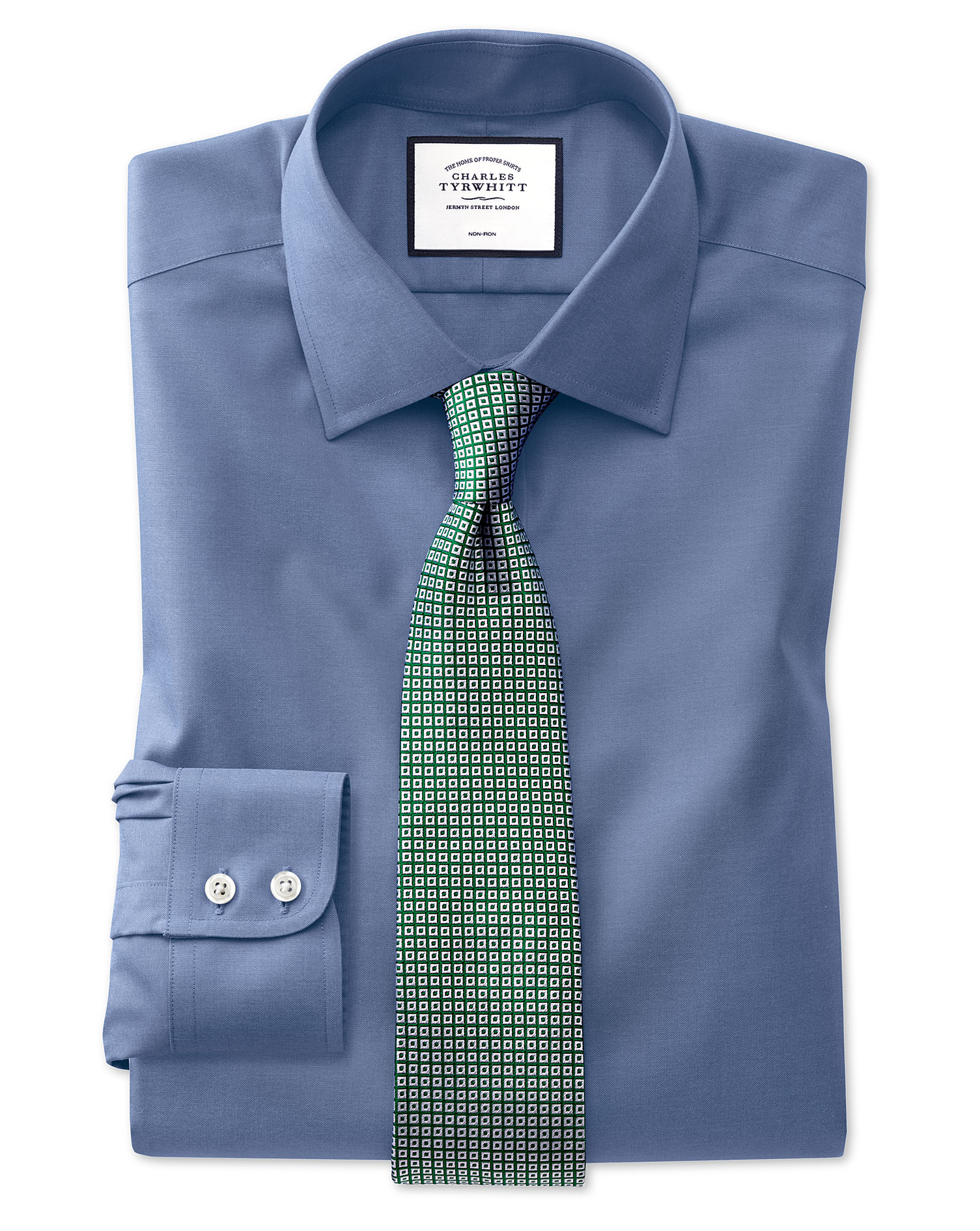 Slim Fit Mid-Blue Non-Iron Pinpoint Oxford Cotton Formal Shirt Single Cuff Size 15.5/34 by Charles T