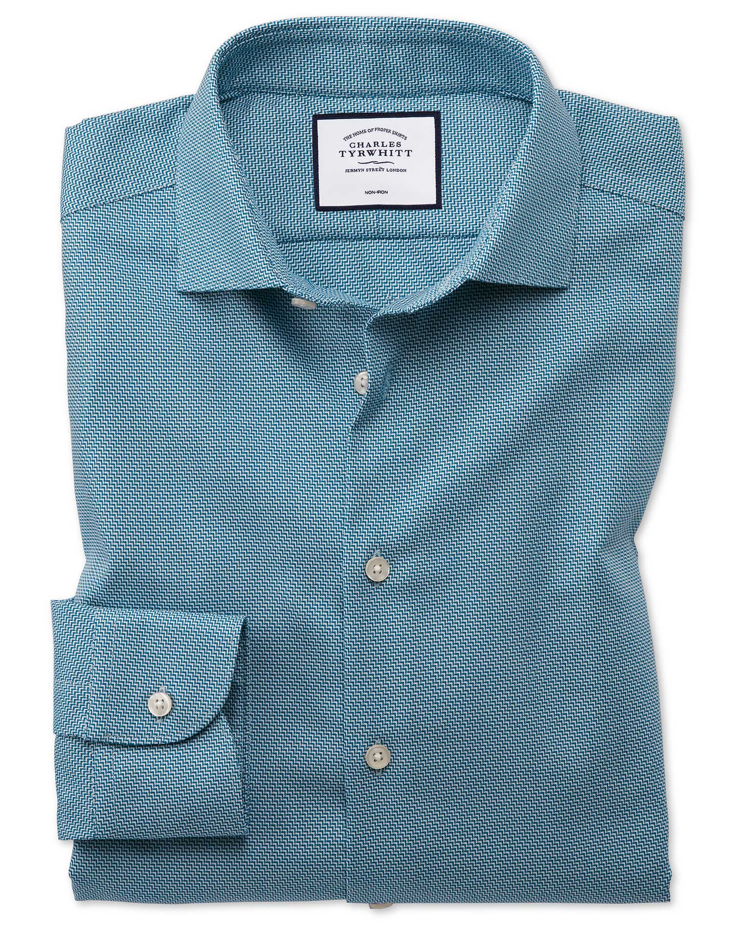 Classic Fit Business Casual Non-Iron Wave Modern Texture Teal Cotton Formal Shirt Single Cuff Size 1