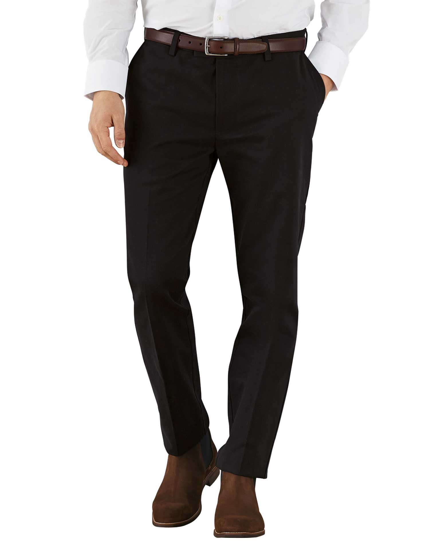 Black Extra Slim Fit Flat Front Non-Iron Cotton Chino Trousers Size W34 L30 by Charles Tyrwhitt