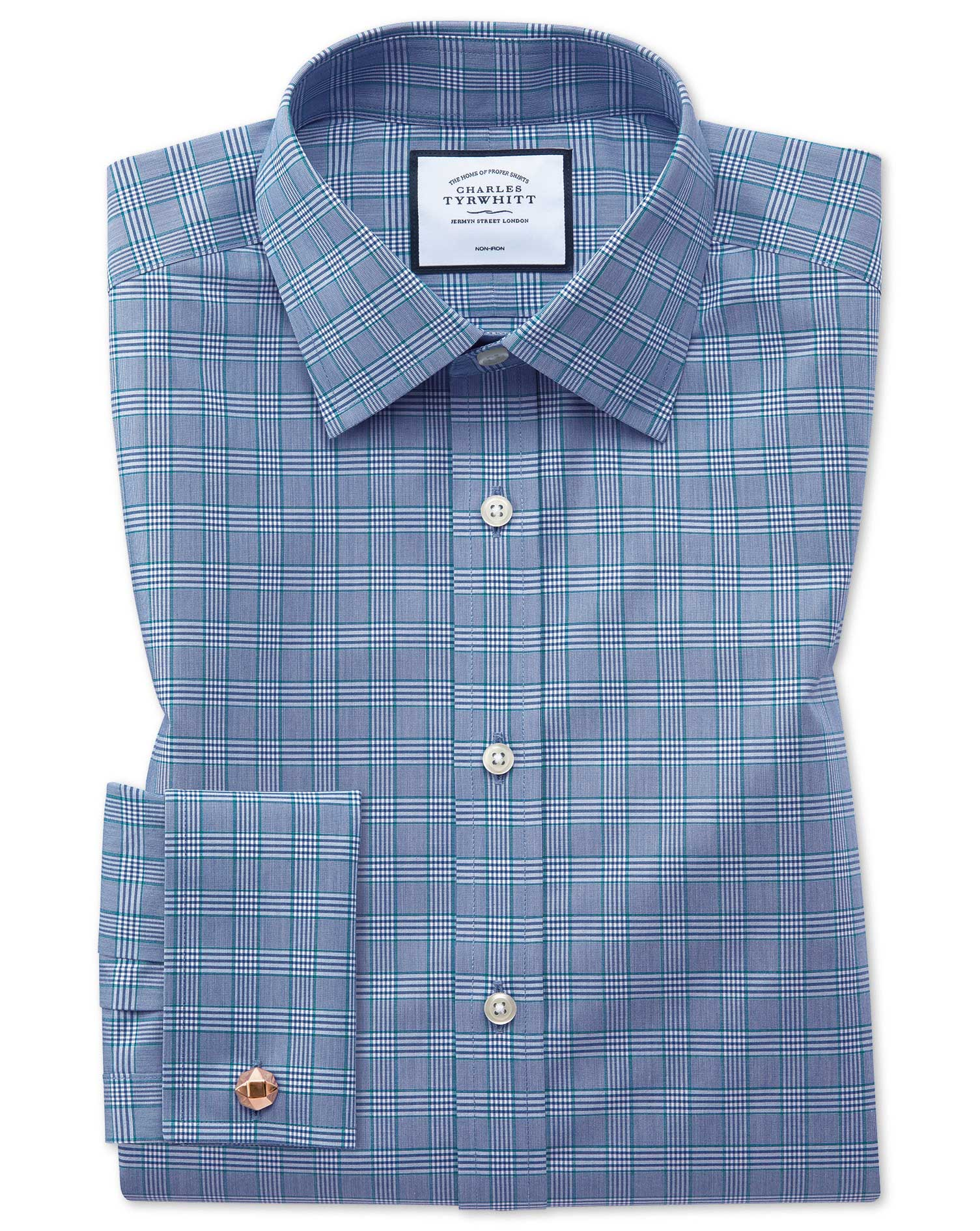 Classic Fit Non-Iron Blue and Green Prince Of Wales Check Cotton Formal Shirt Double Cuff Size 17/37