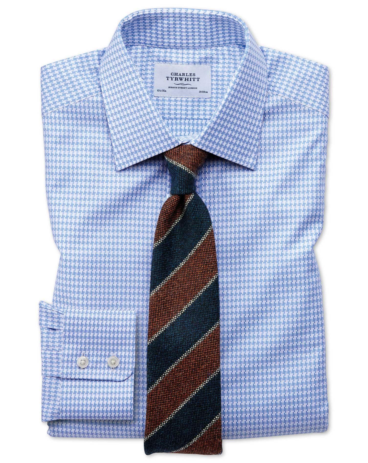 Slim Fit Large Puppytooth Sky Blue Shirt Charles Tyrwhitt