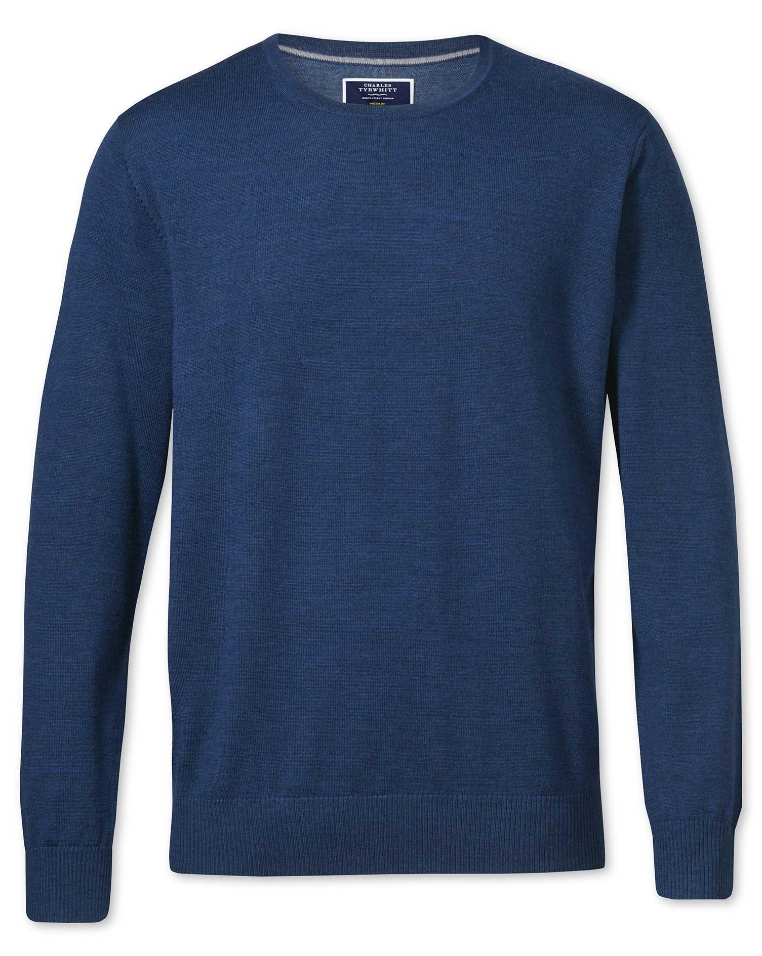 Mid Blue Merino Wool Crew Neck Jumper Size Small by Charles Tyrwhitt