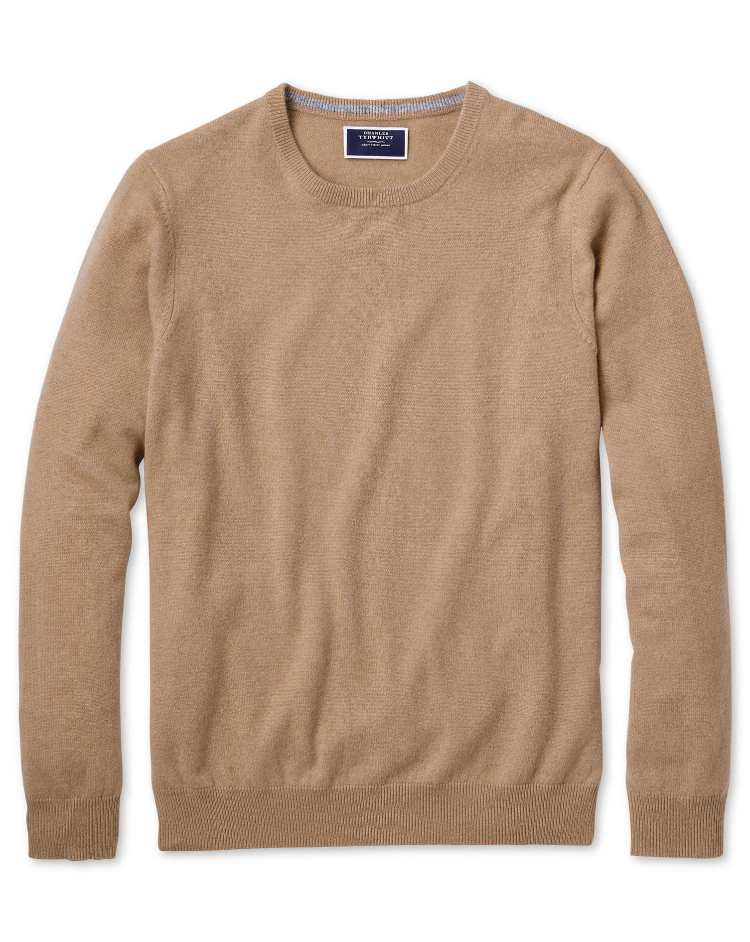 Tan Crew Neck Cashmere Jumper Size Large by Charles Tyrwhitt