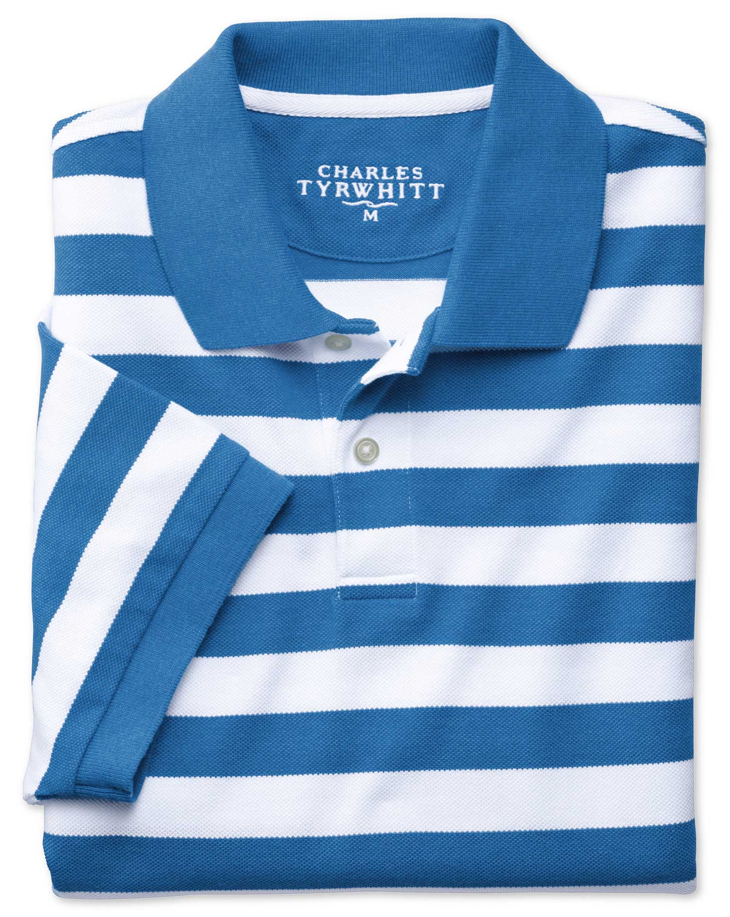 Blue and White Stripe Melange Pique Cotton Polo Size XXL by Charles Tyrwhitt