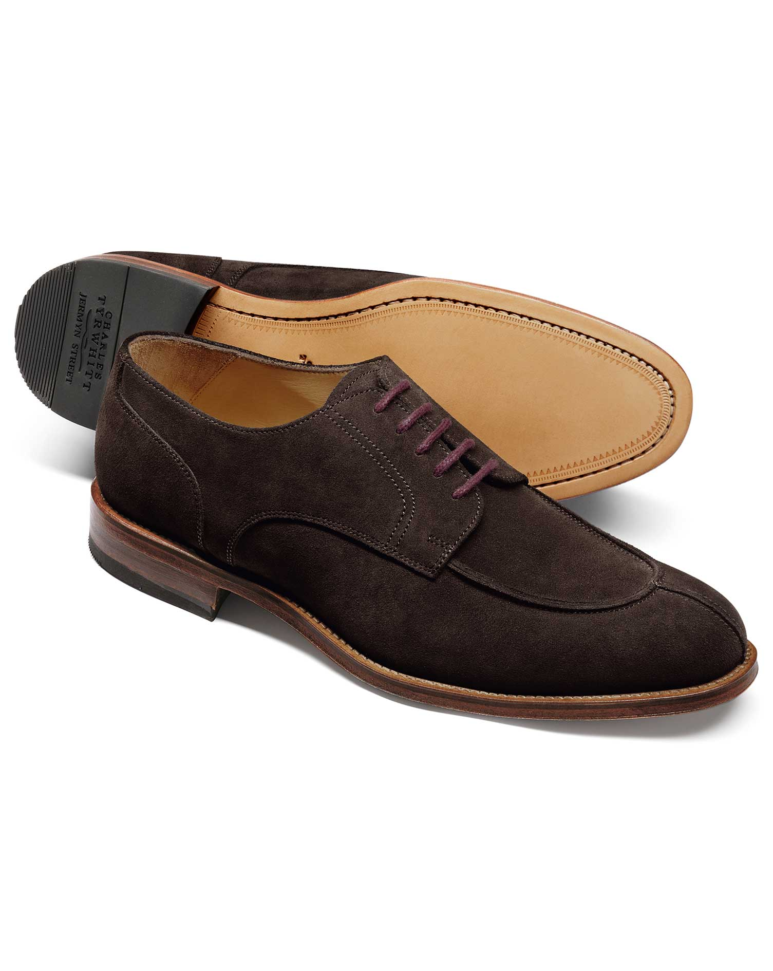Chocolate Suede Split Toe Derby Shoe Size 6 R by Charles Tyrwhitt