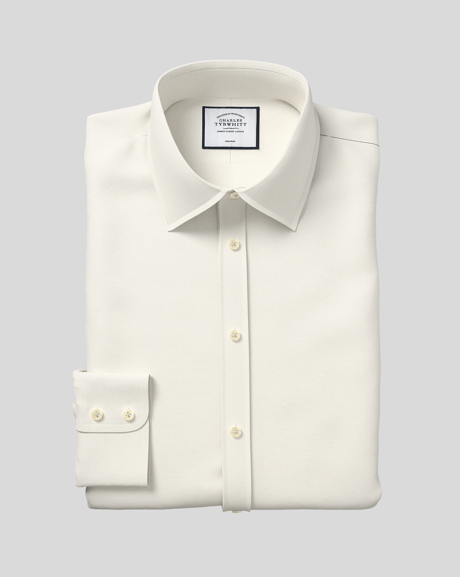 Classic Fit Cream Non-Iron Poplin Cotton Formal Shirt Double Cuff Size 17/35 by Charles Tyrwhitt