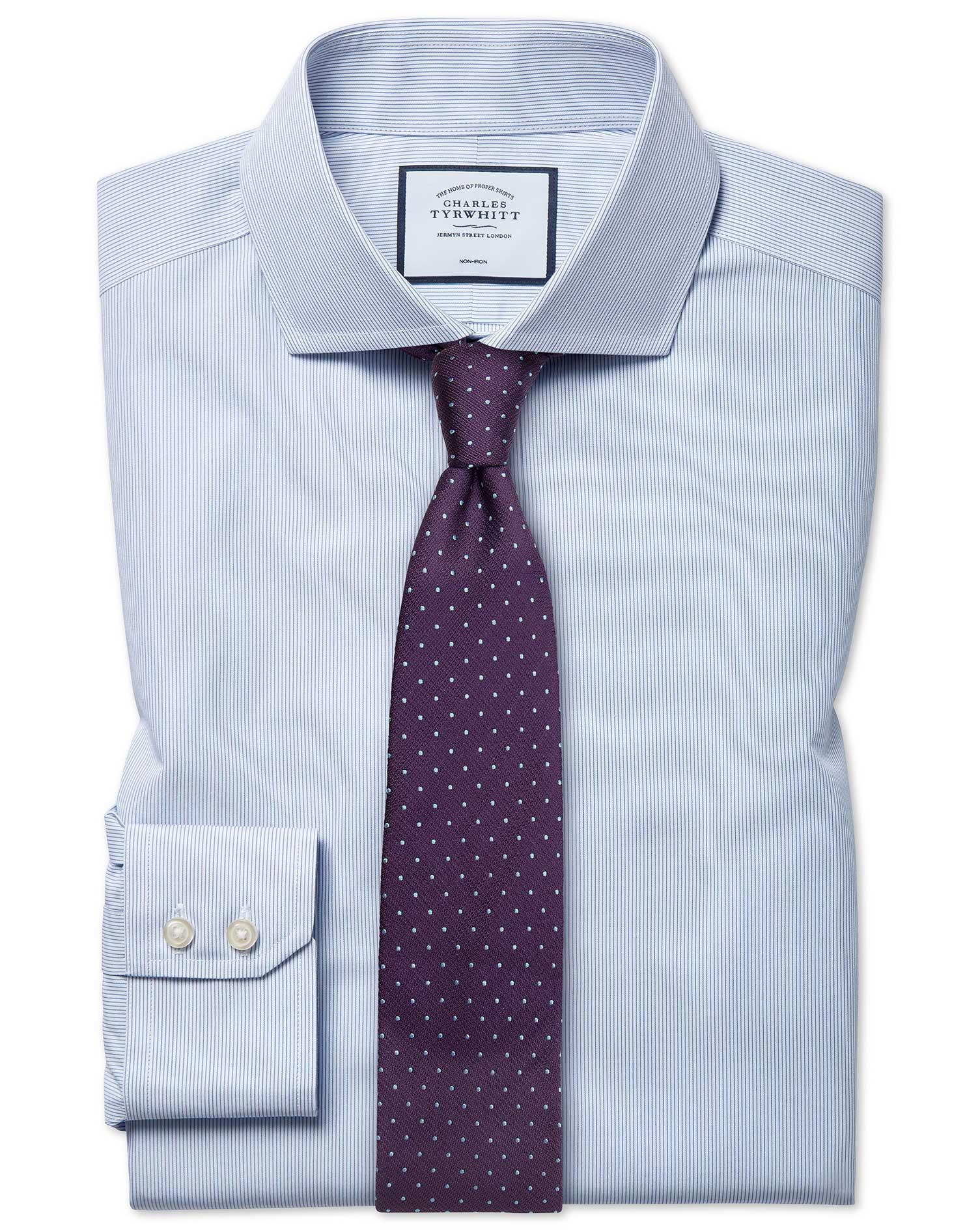Cotton Slim Fit Non-Iron Blue Stripe Tyrwhitt Cool Shirt