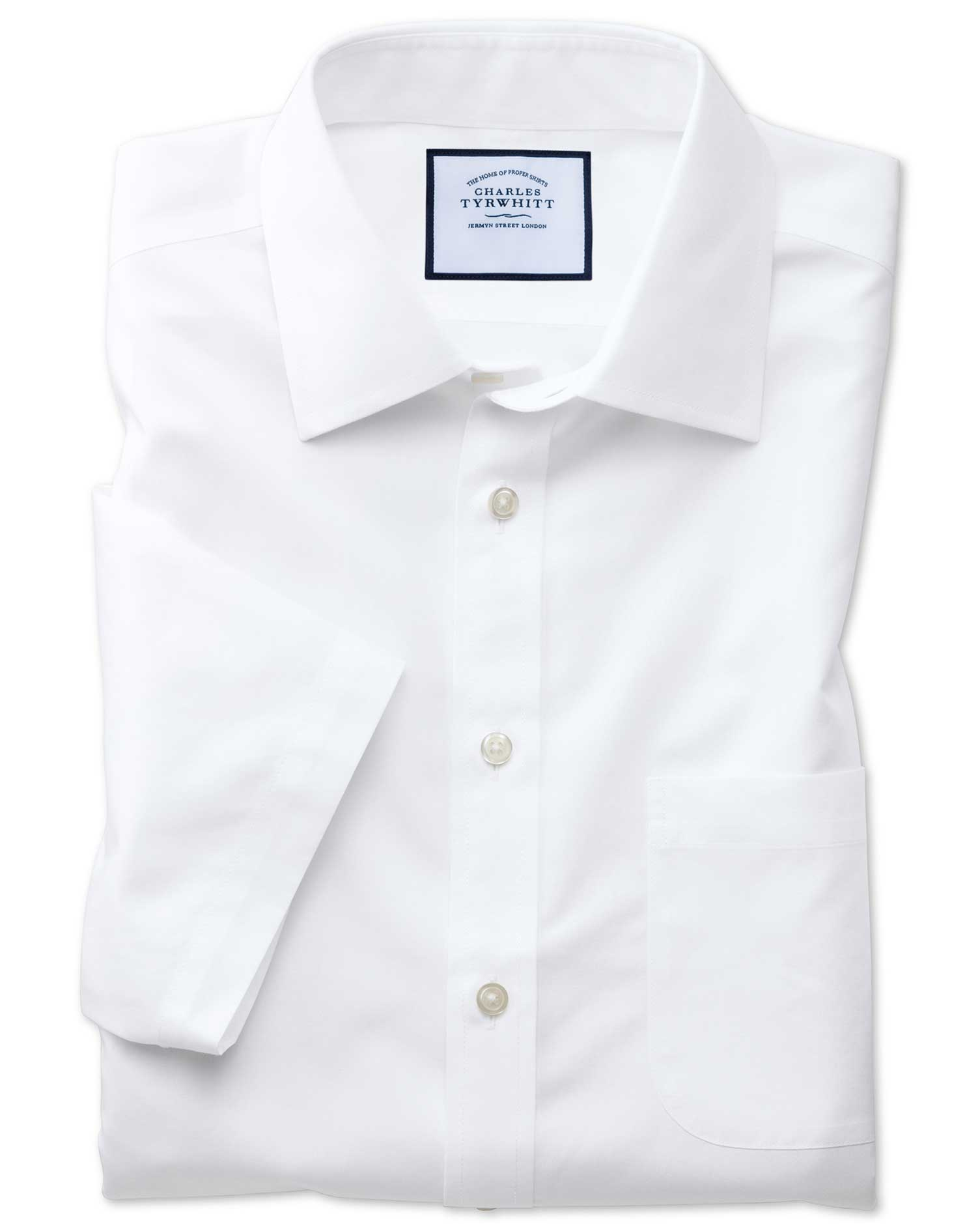 Slim Fit Non-Iron Poplin Short Sleeve White Cotton Formal Shirt Size 15/Short by Charles Tyrwhitt