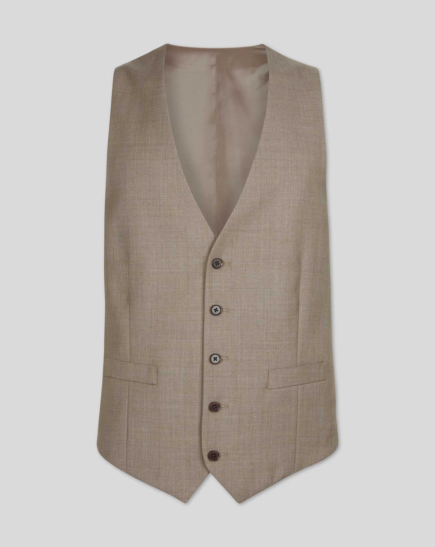 Wool Fawn Adjustable Fit Twill Business Suit Waistcoat