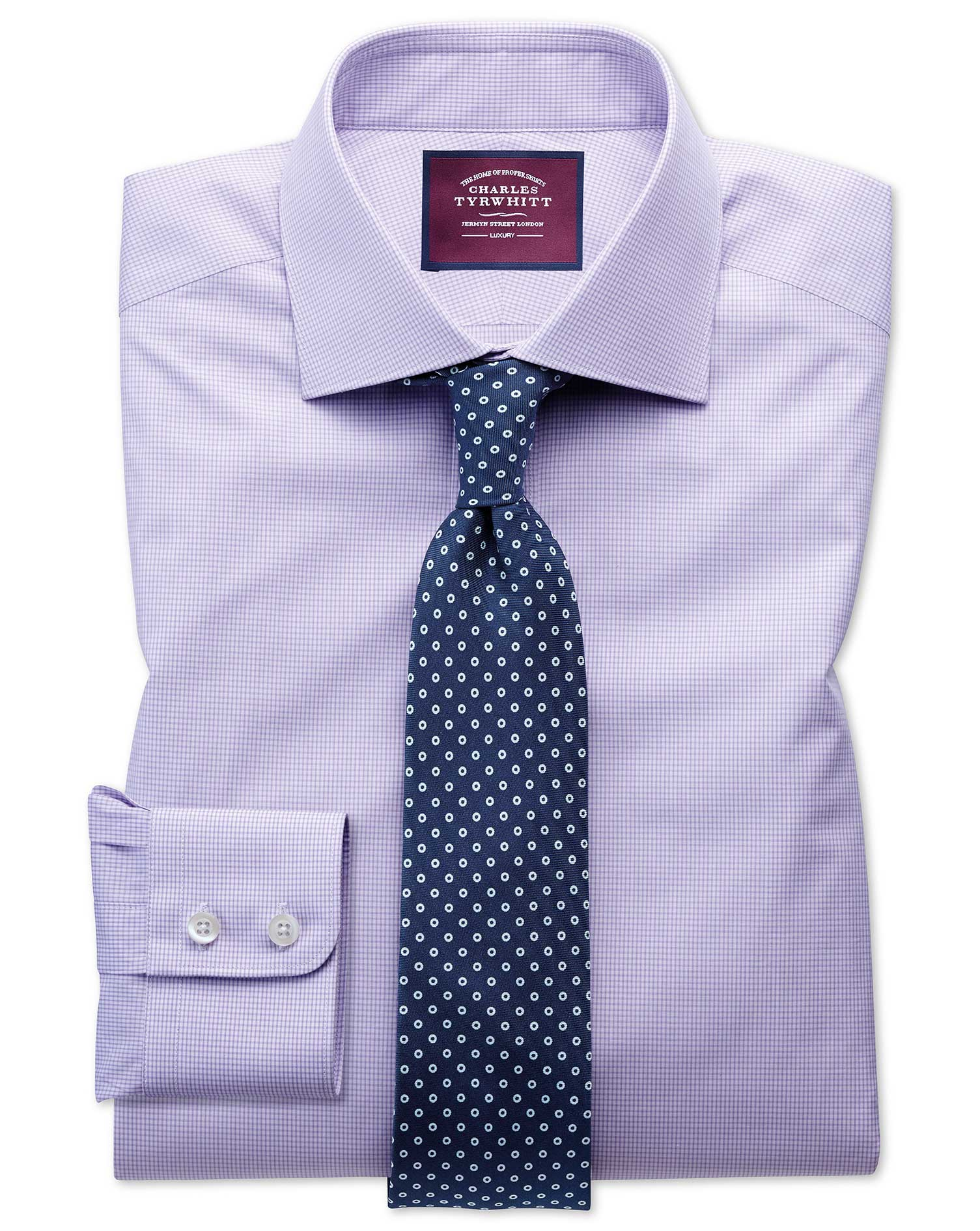 Slim Fit Semi-Cutaway Luxury Poplin Lilac and White Egyptian Cotton Formal Shirt Single Cuff Size 18