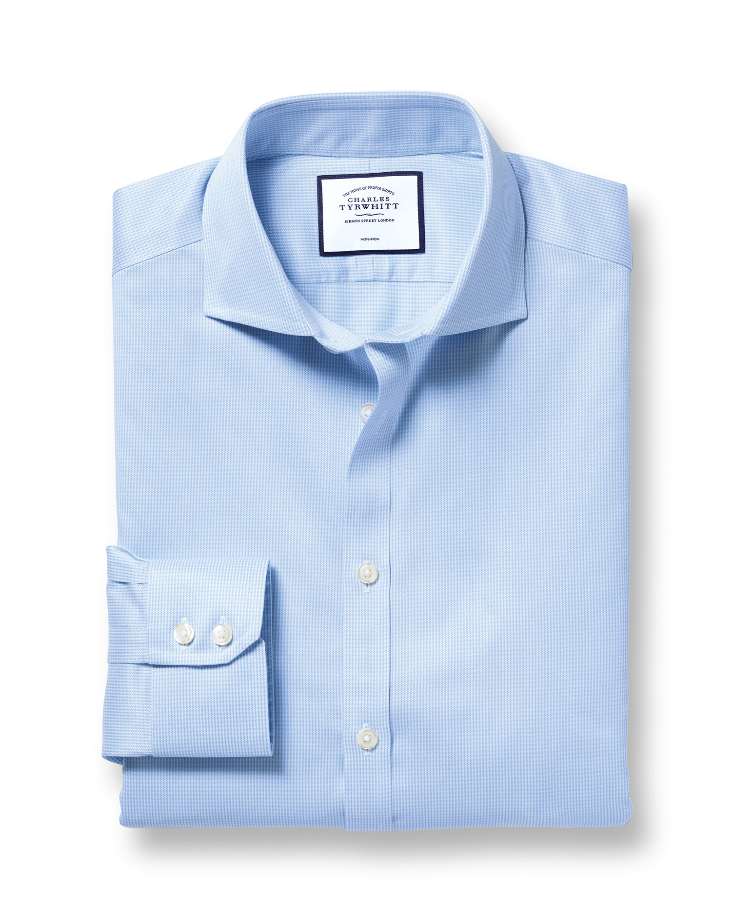 Slim Fit Cutaway Non-Iron Puppytooth Sky Blue Cotton Formal Shirt Single Cuff Size 17/37 by Charles
