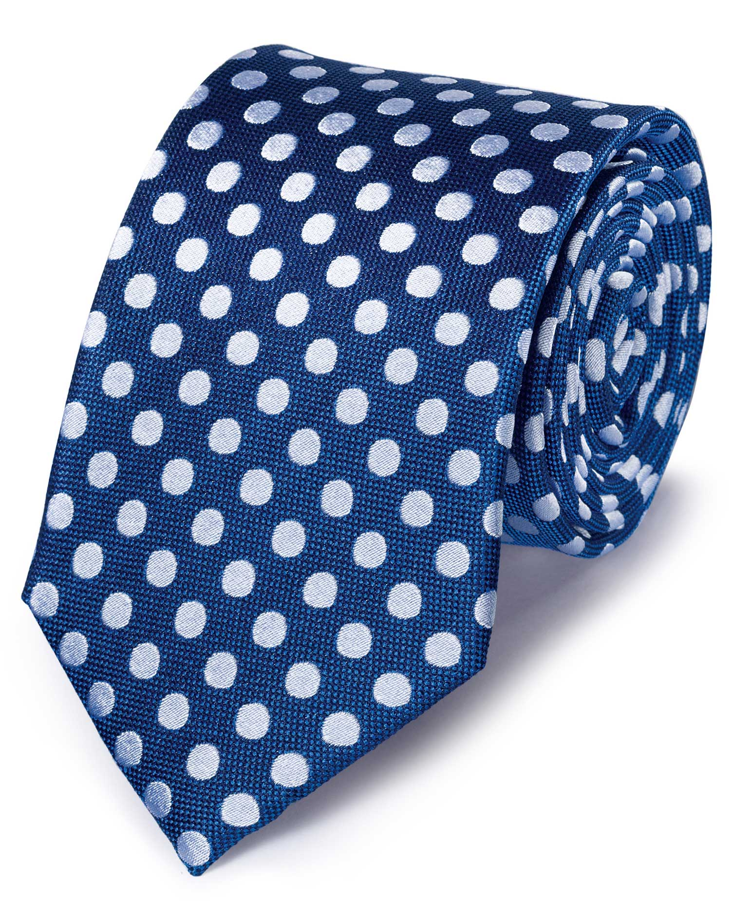 Royal and White Silk Large Spot Classic Tie Size OSFA by Charles Tyrwhitt