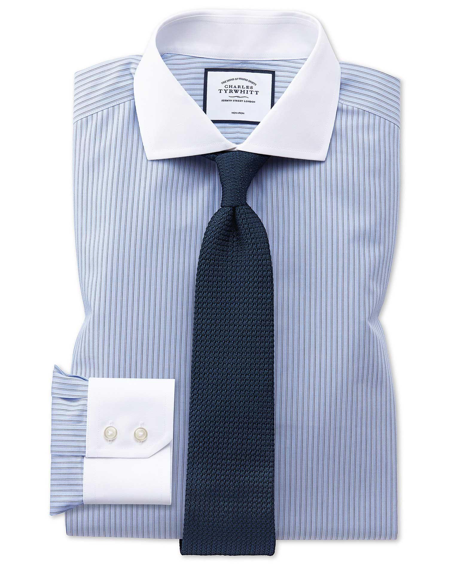 Slim Fit Non Iron Cutaway Collar Winchester Blue And White Stripe