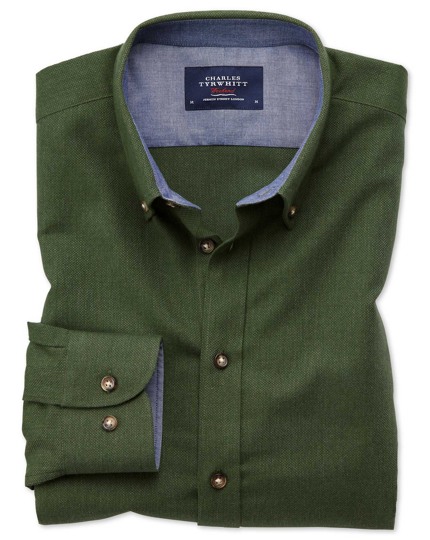 Classic Fit Button-Down Soft Cotton Plain Forest Green Shirt Single Cuff Size XXL by Charles Tyrwhit
