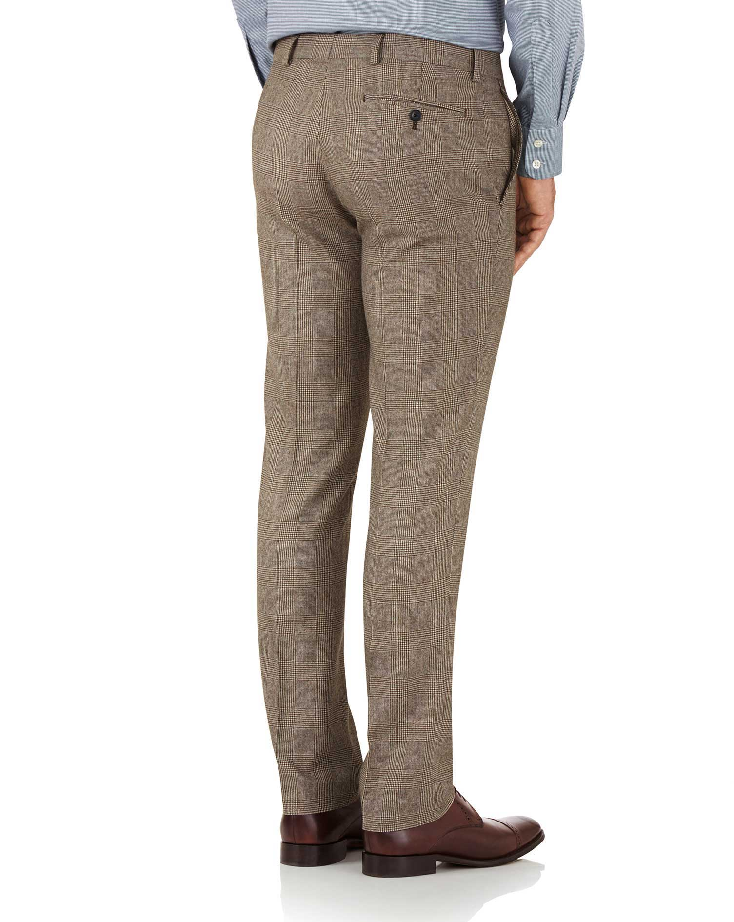 Tan check slim fit British serge luxury suit pants
