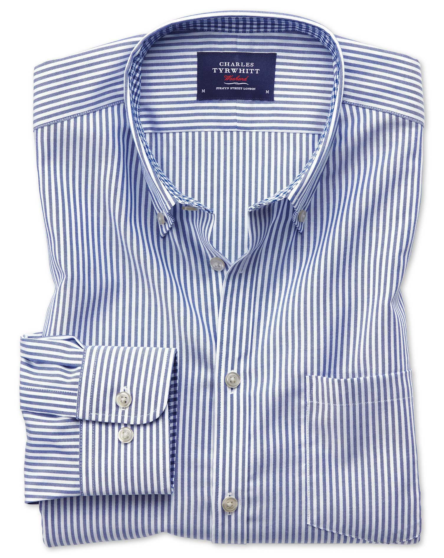 Extra Slim Fit Button-Down Non-Iron Oxford Bengal Stripe Royal Blue Cotton Shirt Single Cuff Size XS