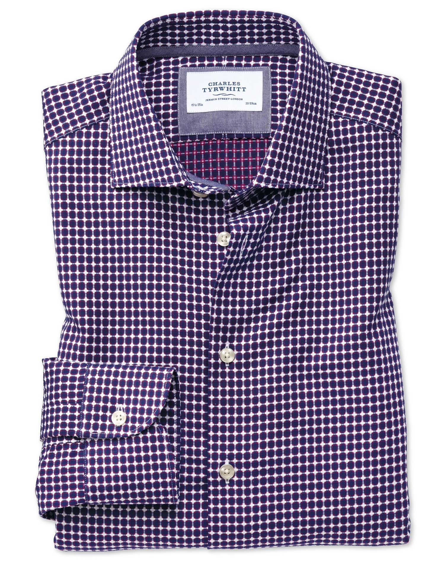 Slim Fit Semi-Cutaway Business Casual Non-Iron Modern Textures Blue and Pink Cotton Formal Shirt Sin
