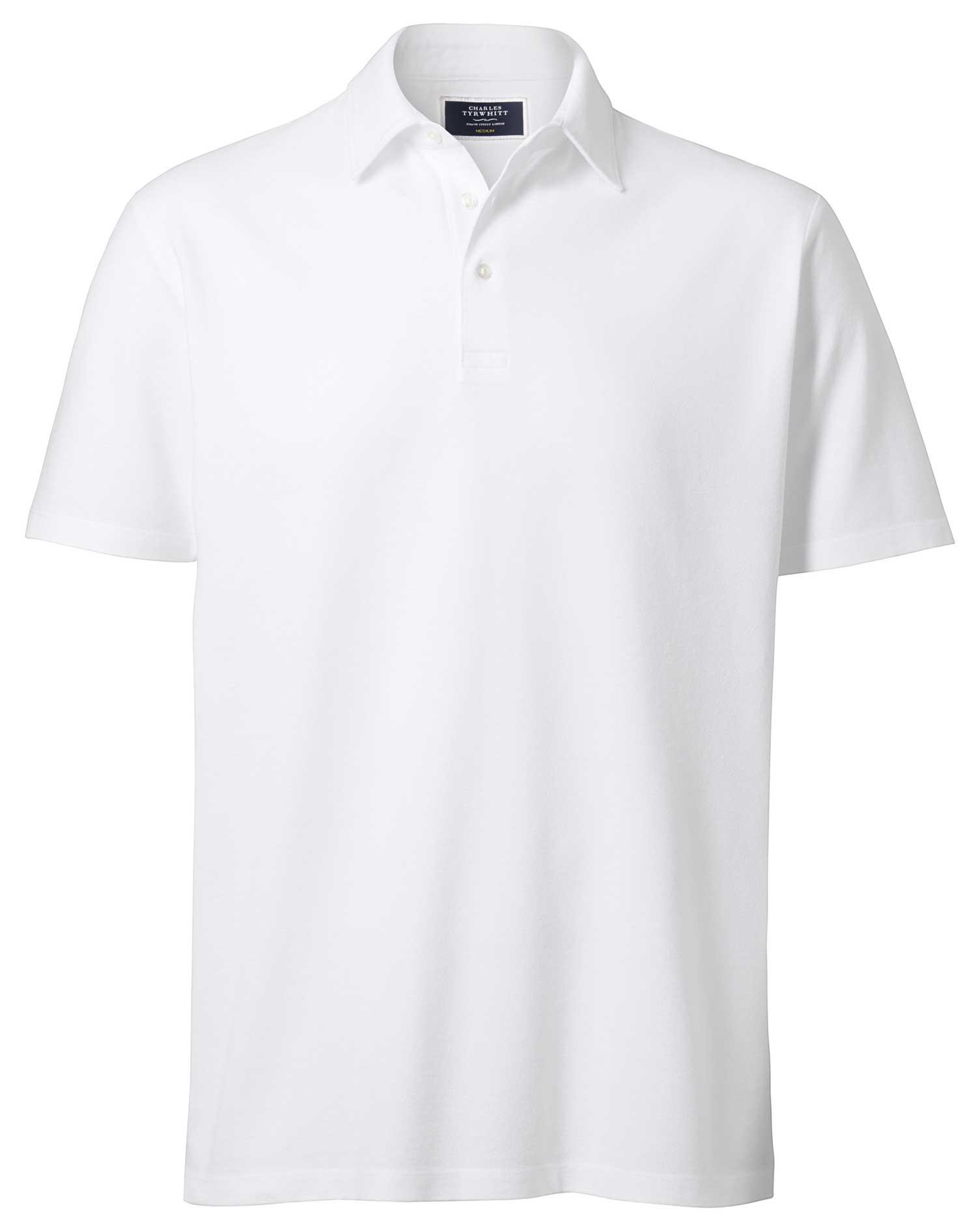 White Oxford Pique Cotton Polo Size XXXL by Charles Tyrwhitt