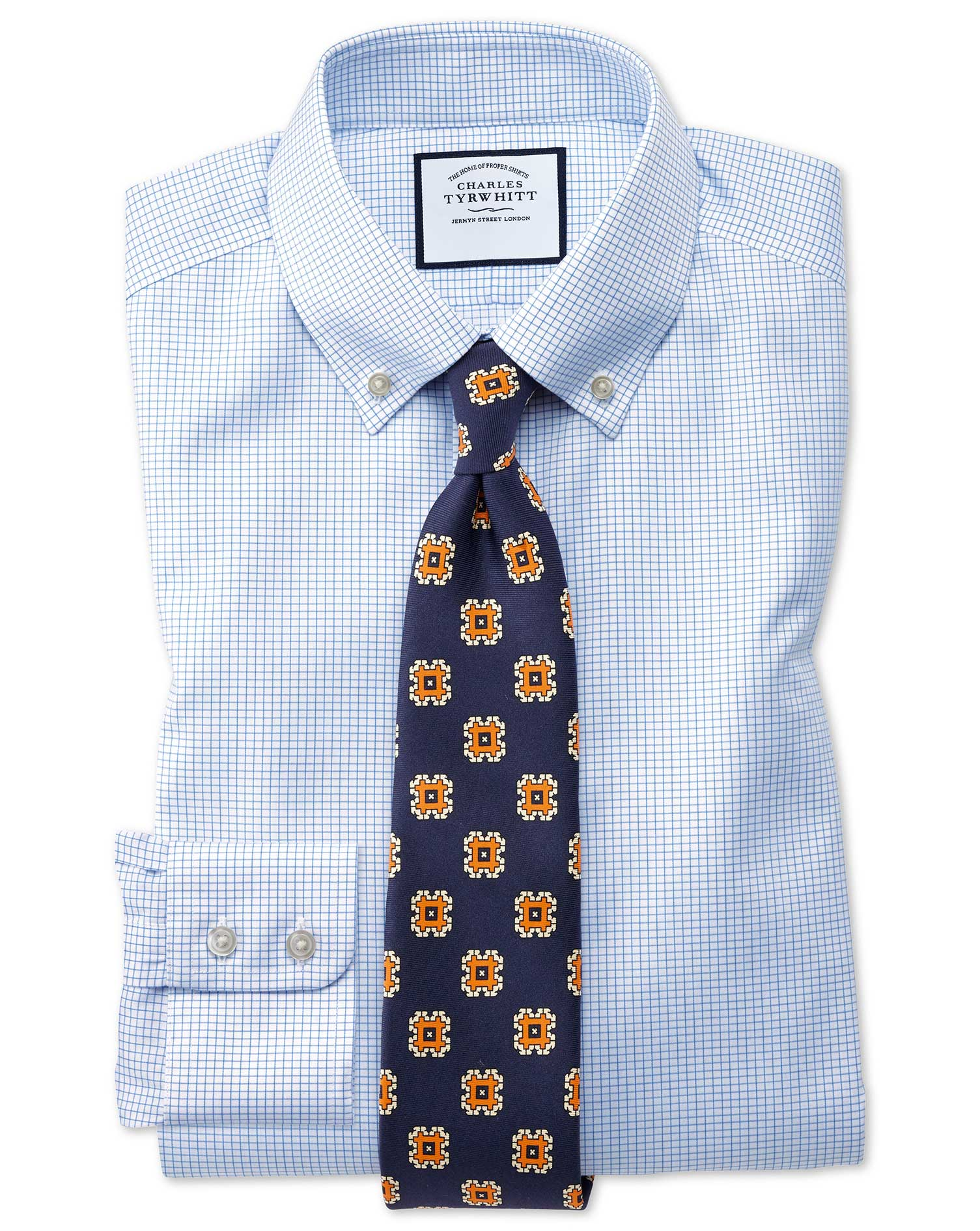 Classic Fit Button-Down Non-Iron Twill Mini Grid Check Sky Blue Cotton Formal Shirt Single Cuff Size