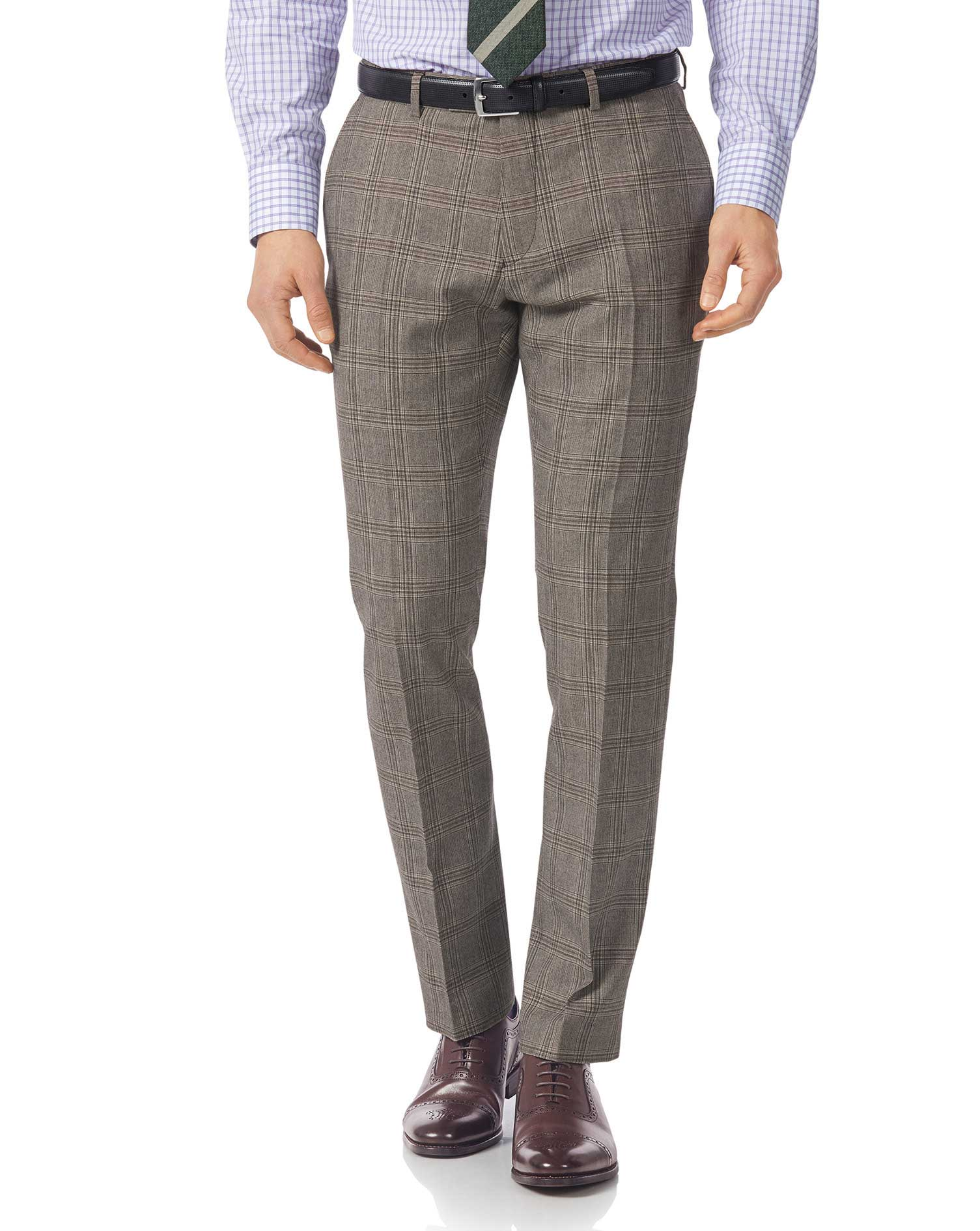 Grey Slim Fit British Prince Of Wales Check Luxury Suit Trousers Size W38 L38 by Charles Tyrwhitt