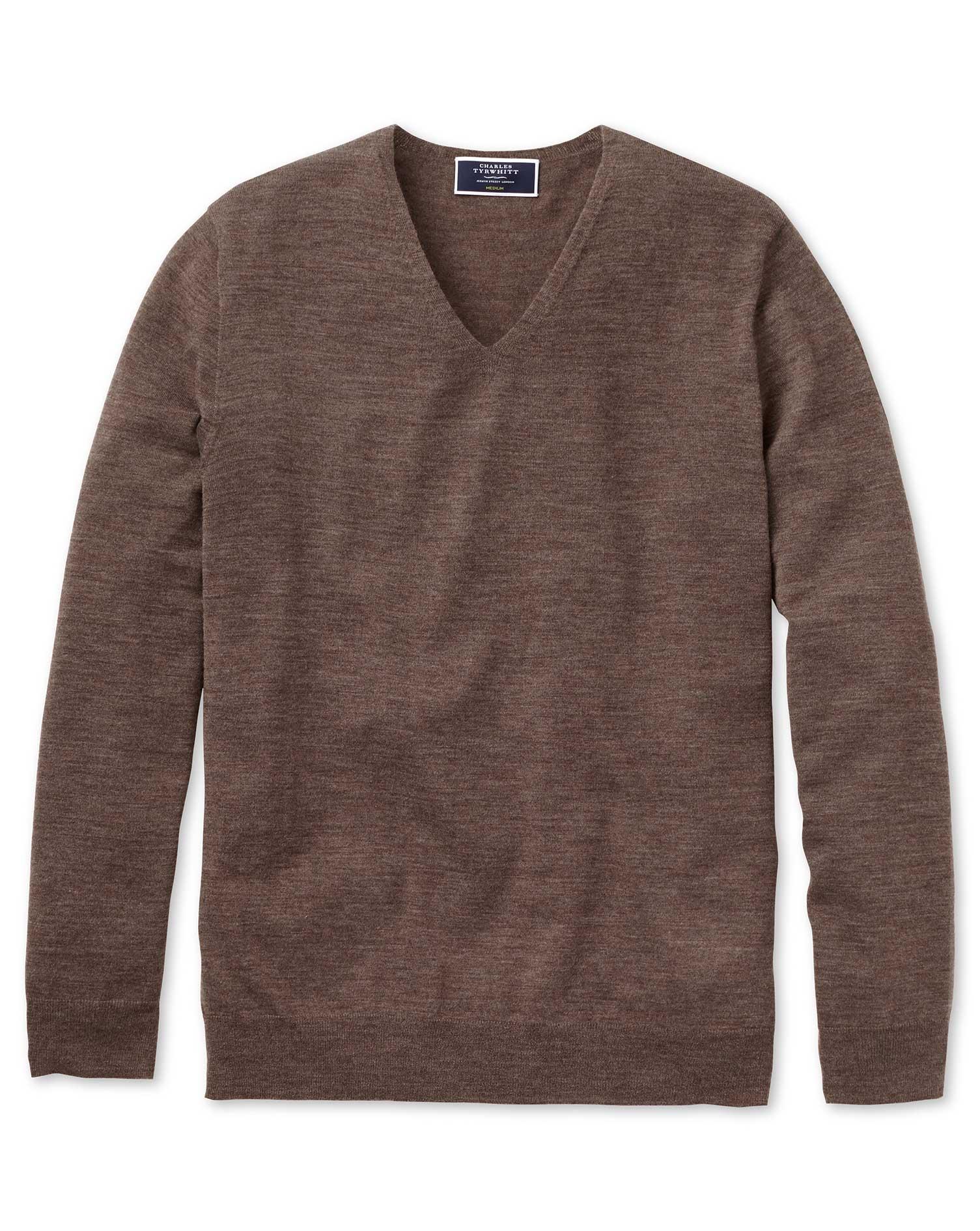 Brown Superfine Merino Seamless V-Neck Merino Wool Jumper Size Medium by Charles Tyrwhitt