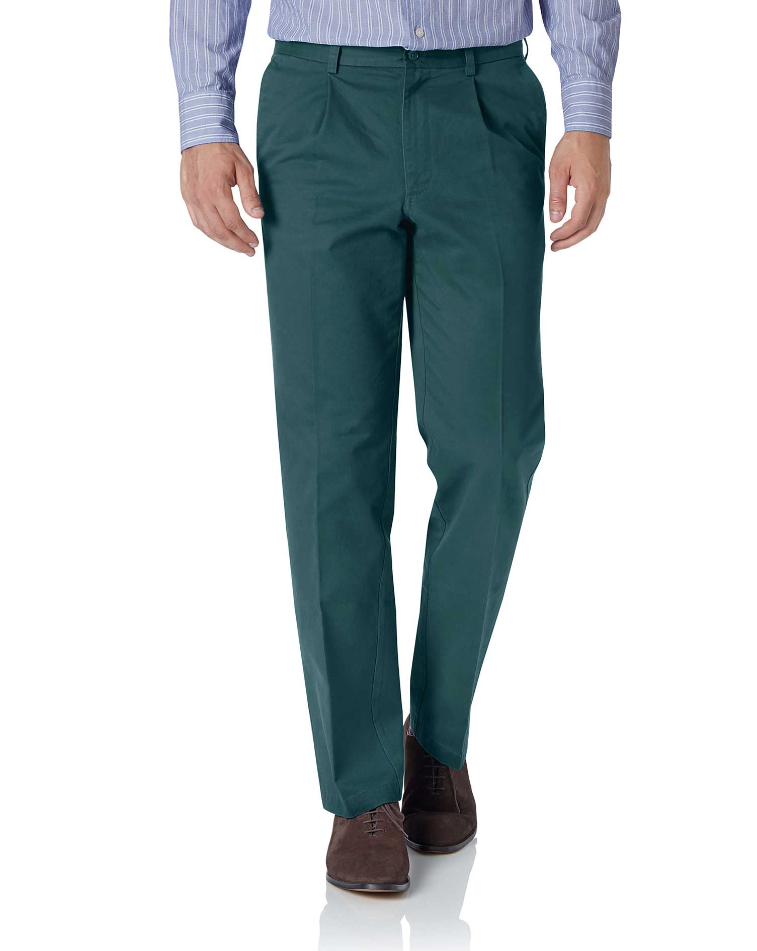 Teal Classic Fit Single Pleat Washed Cotton Chino Trousers Size W32 L38 by Charles Tyrwhitt