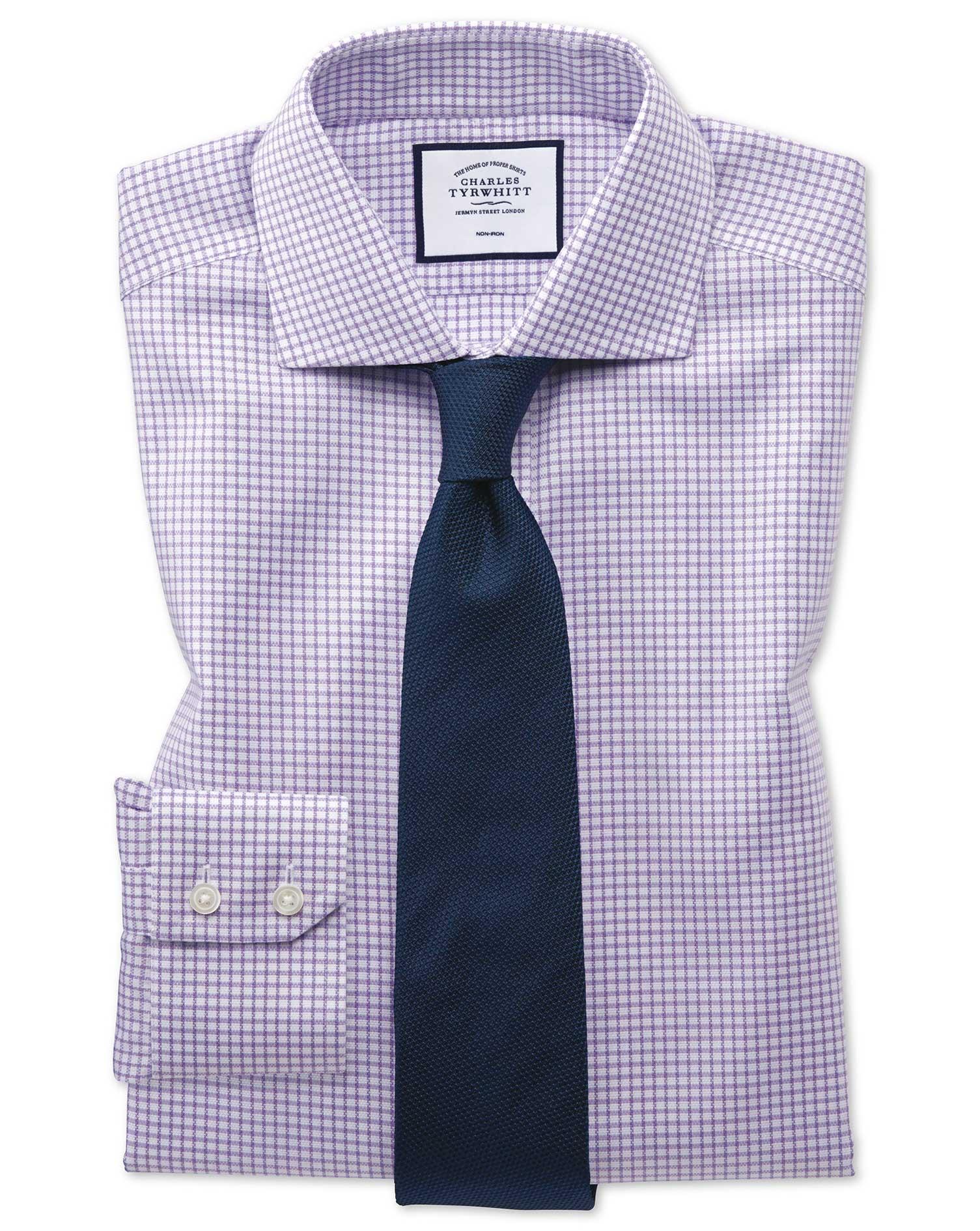 Slim Fit Non-Iron Cutaway Collar Lilac Grid Check Oxford Stretch Cotton Formal Shirt Single Cuff Siz