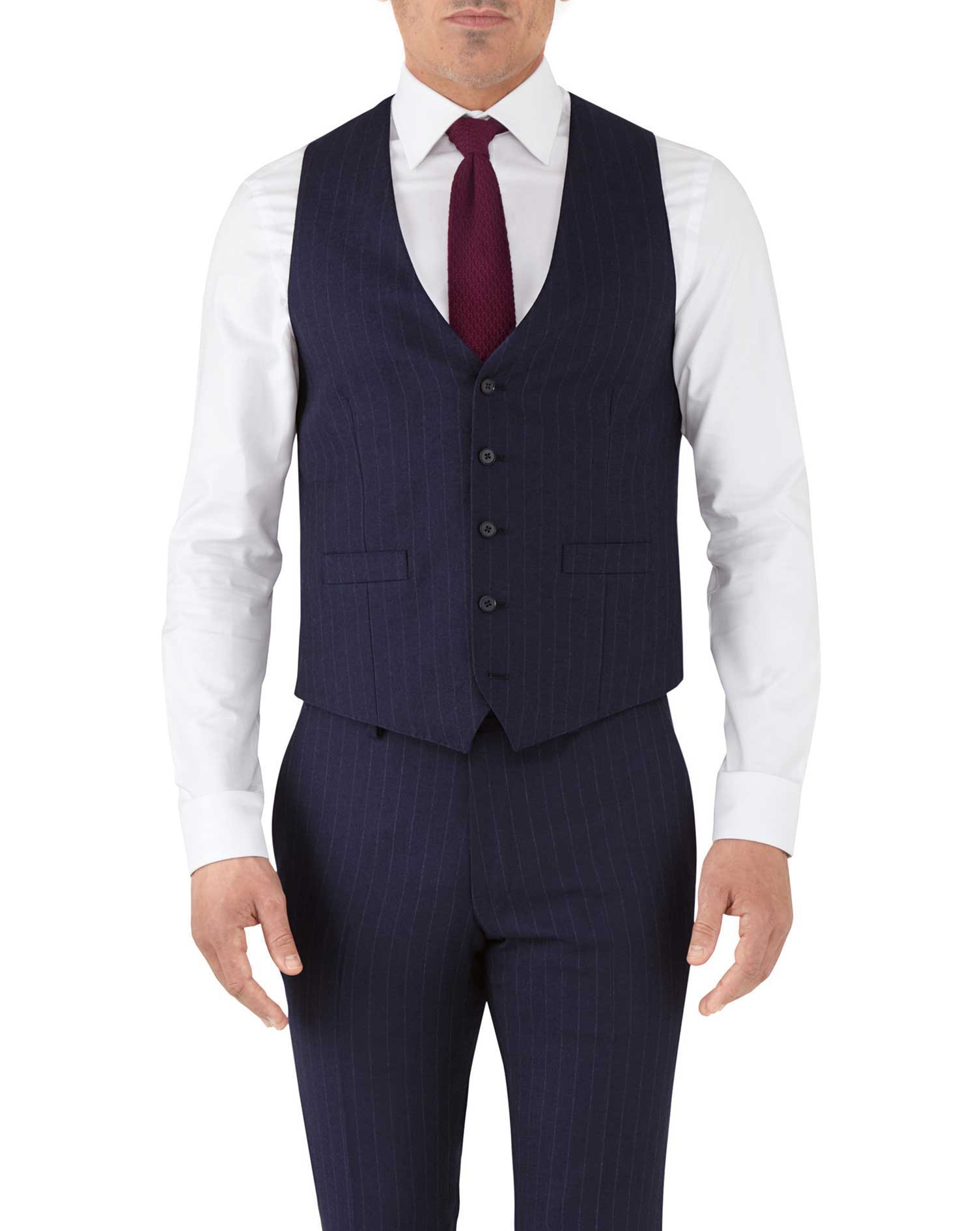 Navy stripe adjustable fit flannel business suit waistcoat