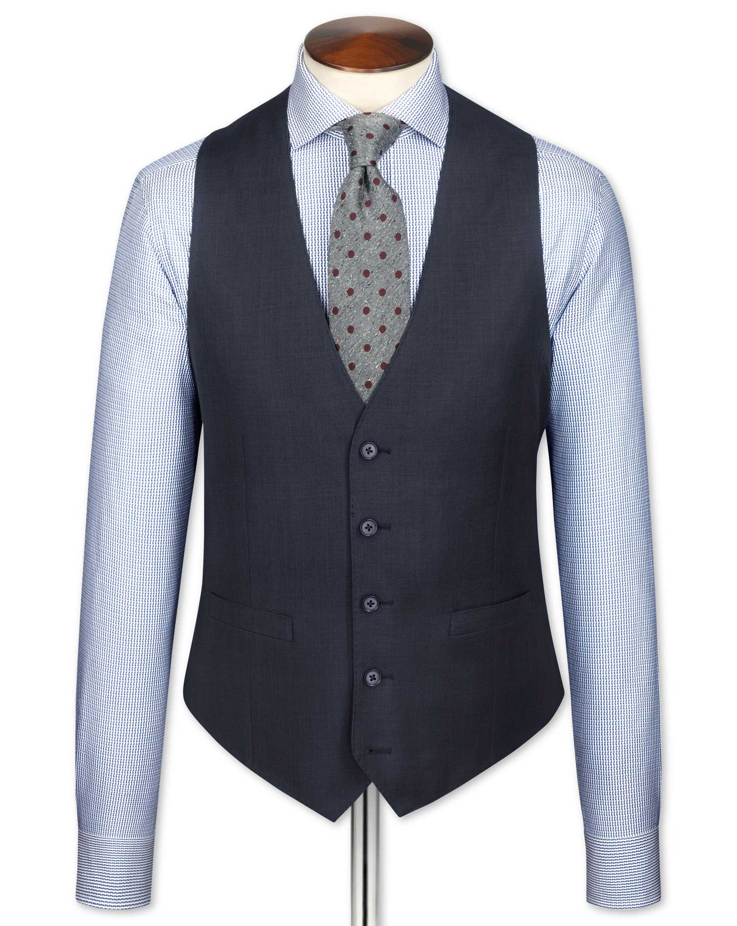 Blue slim fit sharkskin travel suit vest