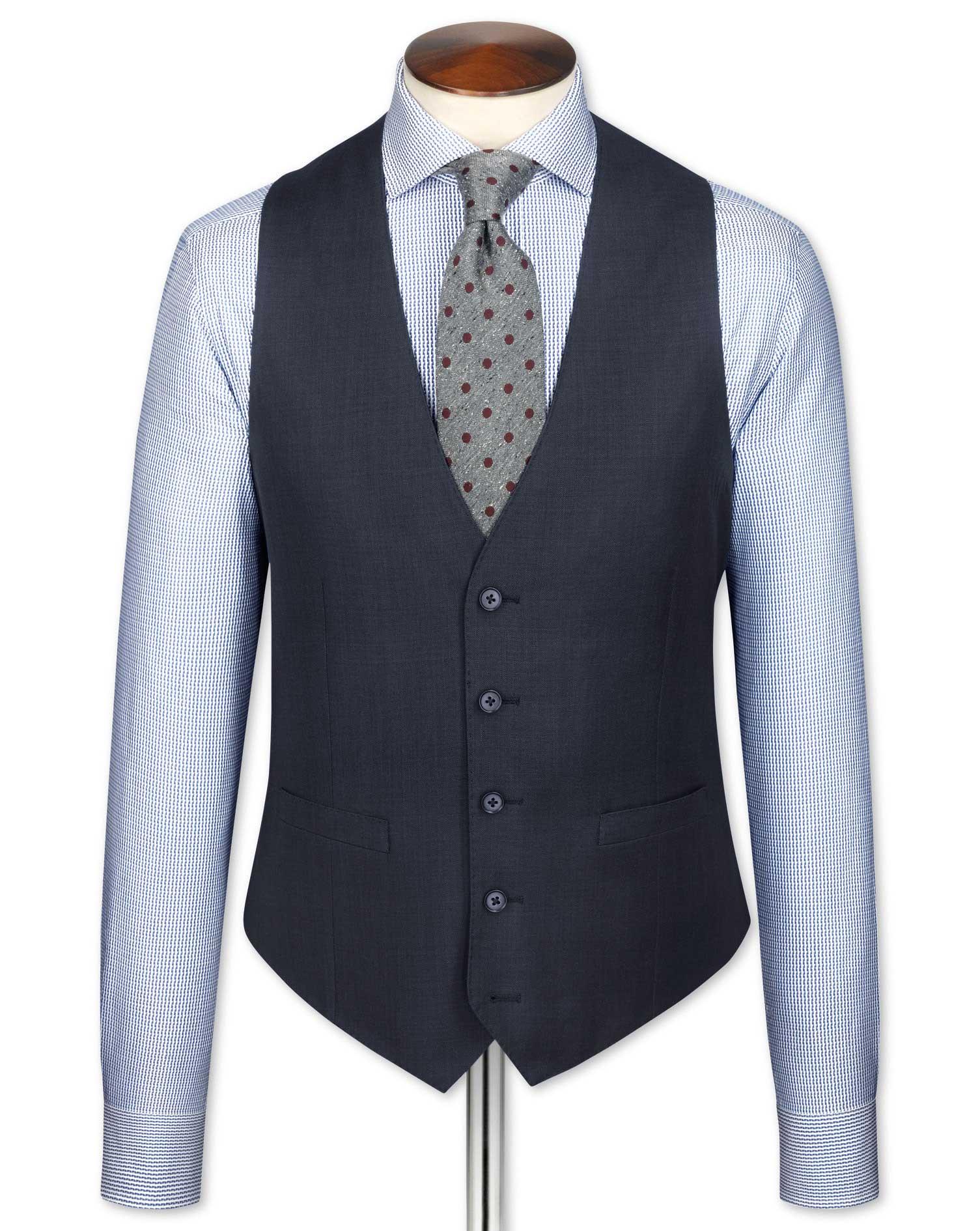 Blue Slim Fit Sharkskin Travel Suit Wool Waistcoat Size w40 by Charles Tyrwhitt