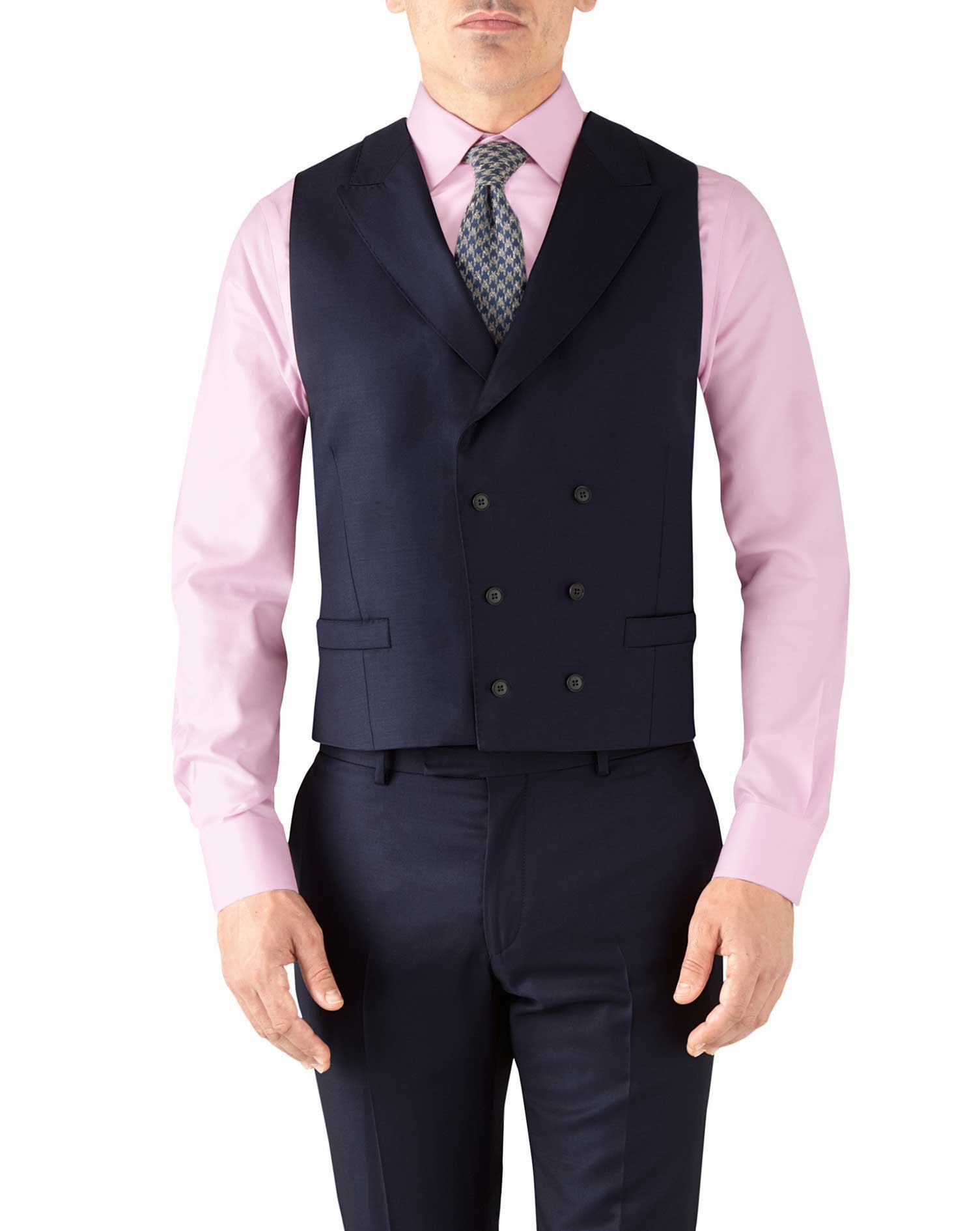 Navy Adjustable Fit Italian Twill Luxury Suit Wool Waistcoat Size w44 by Charles Tyrwhitt