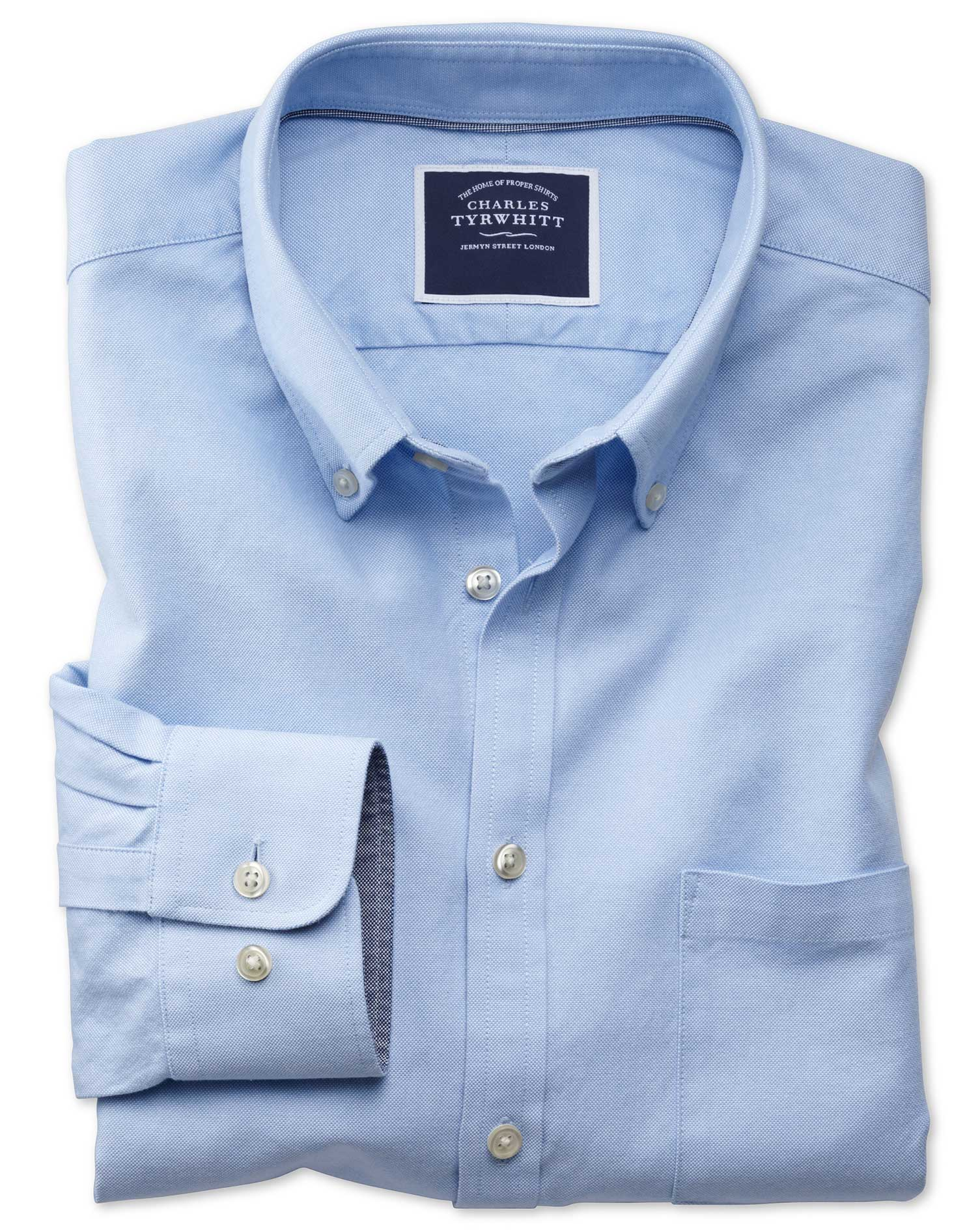Extra Slim Fit Button-Down Washed Oxford Plain Sky Blue Cotton Shirt Single Cuff Size Large by Charl