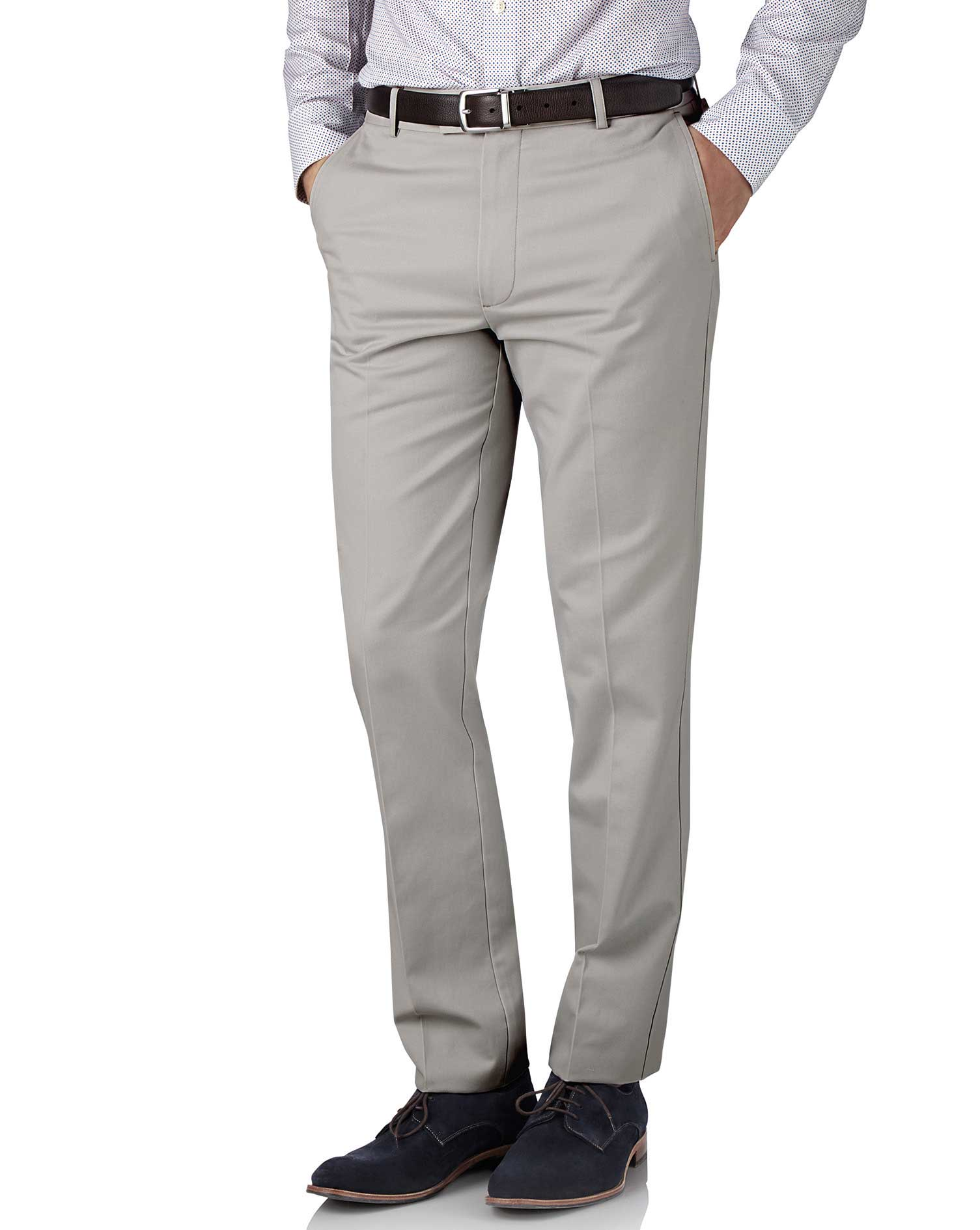 Silver Grey Slim Fit Flat Front Non-Iron Cotton Chino Trousers Size W38 L34 by Charles Tyrwhitt