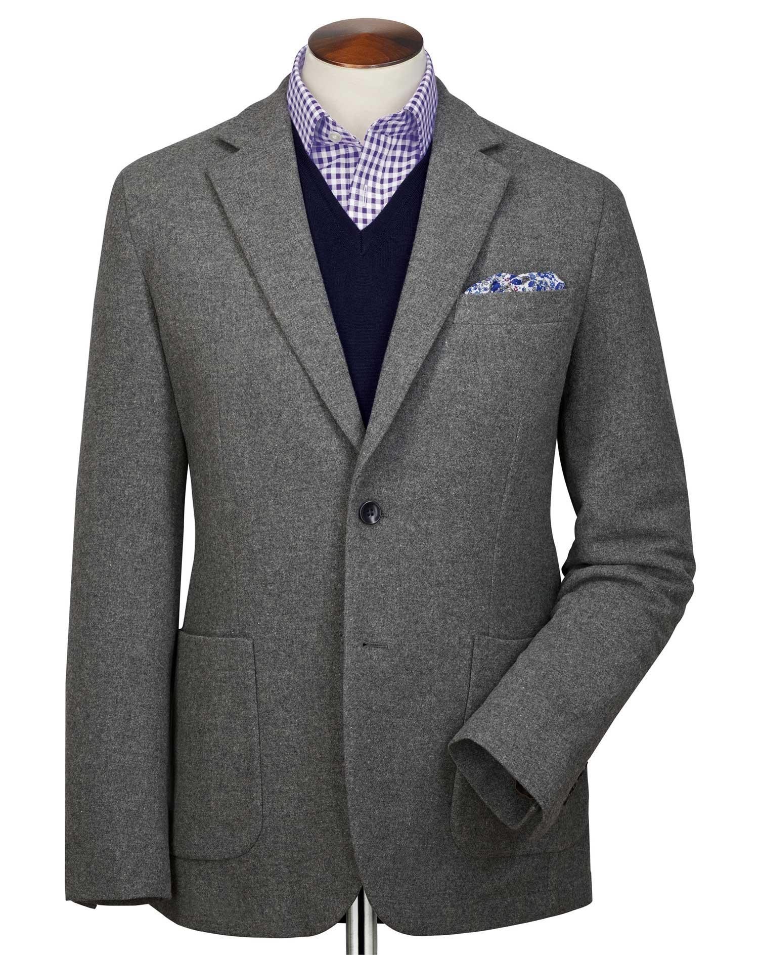 Slim Fit Grey Plain Wool Flannel Wool Blazer Size 44 Regular by Charles Tyrwhitt