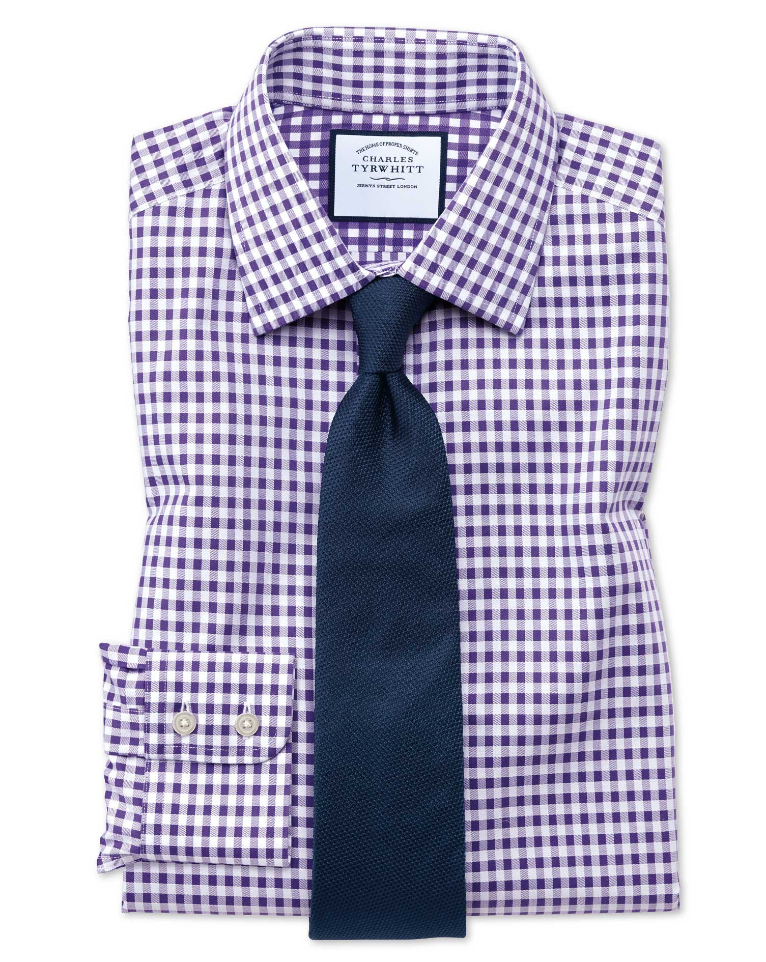 Extra Slim Fit Non-Iron Gingham Purple Cotton Formal Shirt Single Cuff Size 15.5/33 by Charles Tyrwh