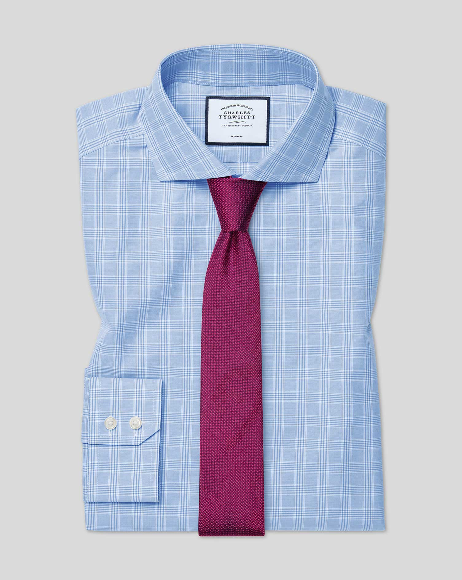 Extra Slim Fit Cutaway Non-Iron Prince Of Wales Check Sky Blue Cotton Formal Shirt Double Cuff Size