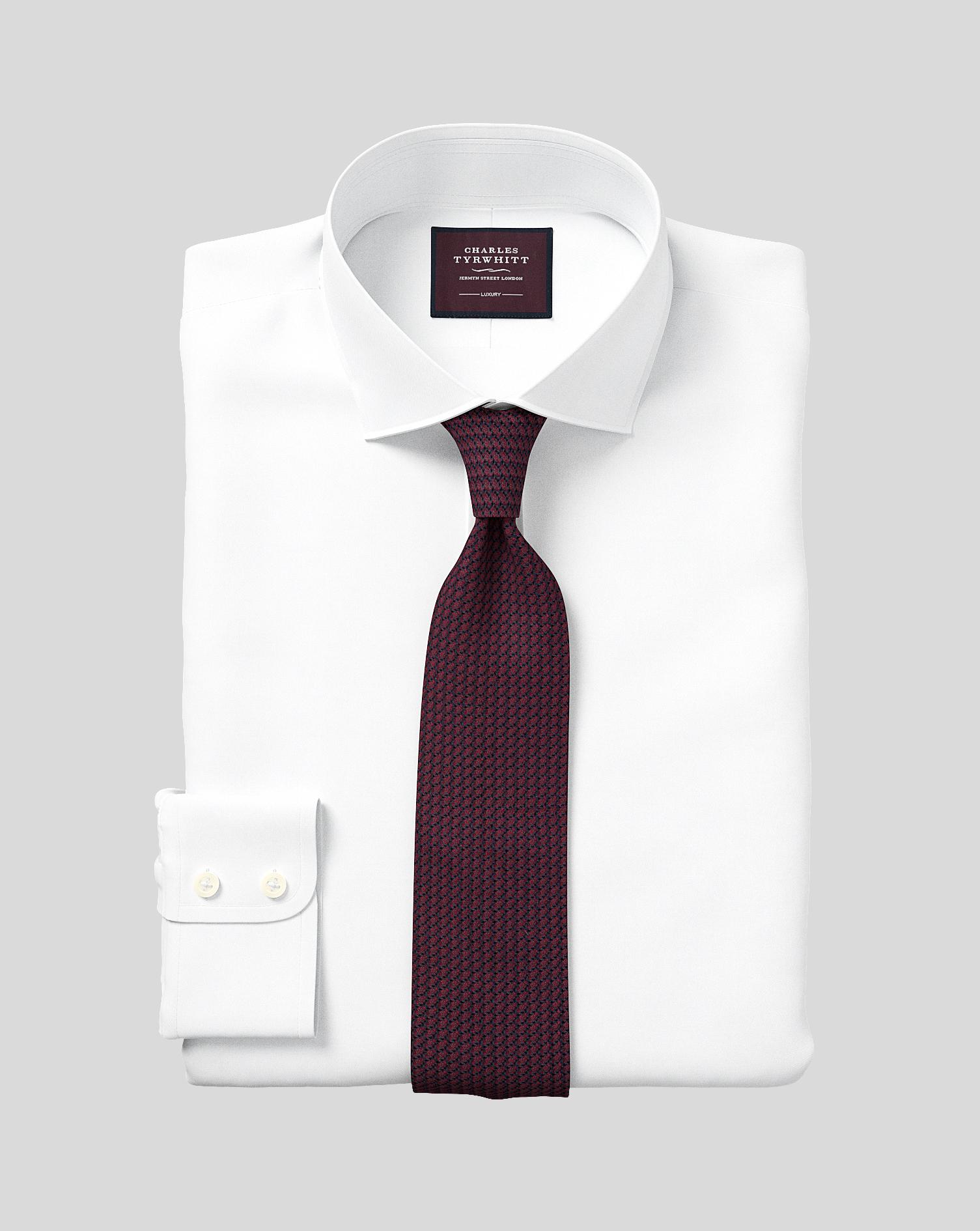 Slim Fit White Luxury Twill Egyptian Cotton Formal Shirt Single Cuff Size 15/34 by Charles Tyrwhitt