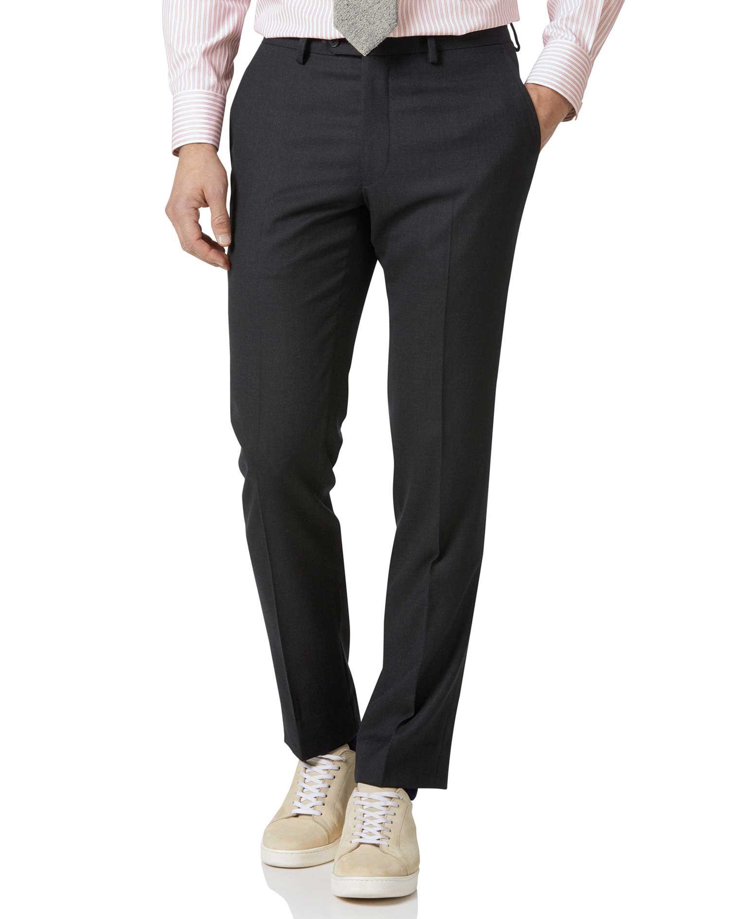 Charcoal Slim Fit Birdseye Travel Suit Trousers Size W42 L32 by Charles Tyrwhitt