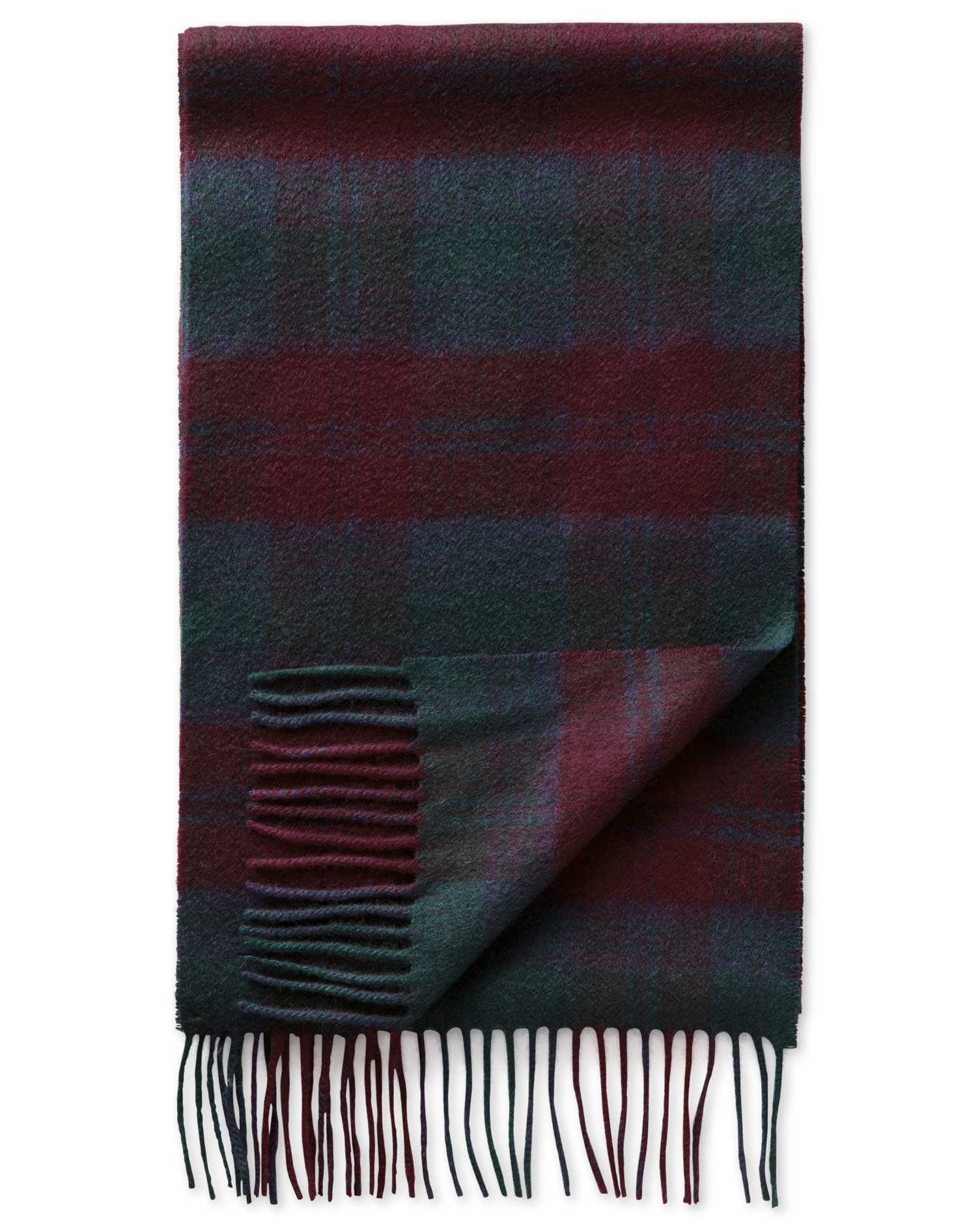 Burgundy Check Cashmere Scarf by Charles Tyrwhitt