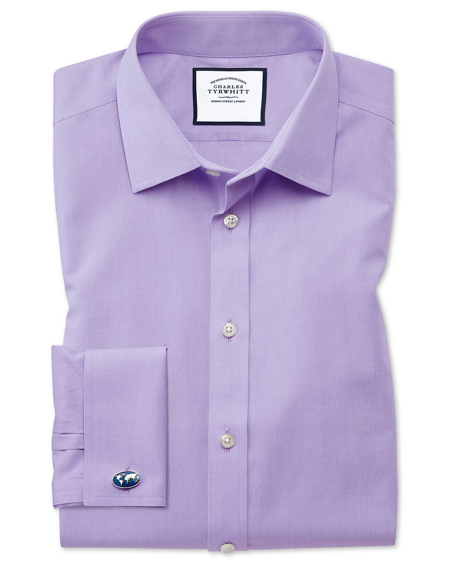 Classic Fit Non-Iron Poplin Lilac Cotton Formal Shirt Double Cuff Size 18/35 by Charles Tyrwhitt