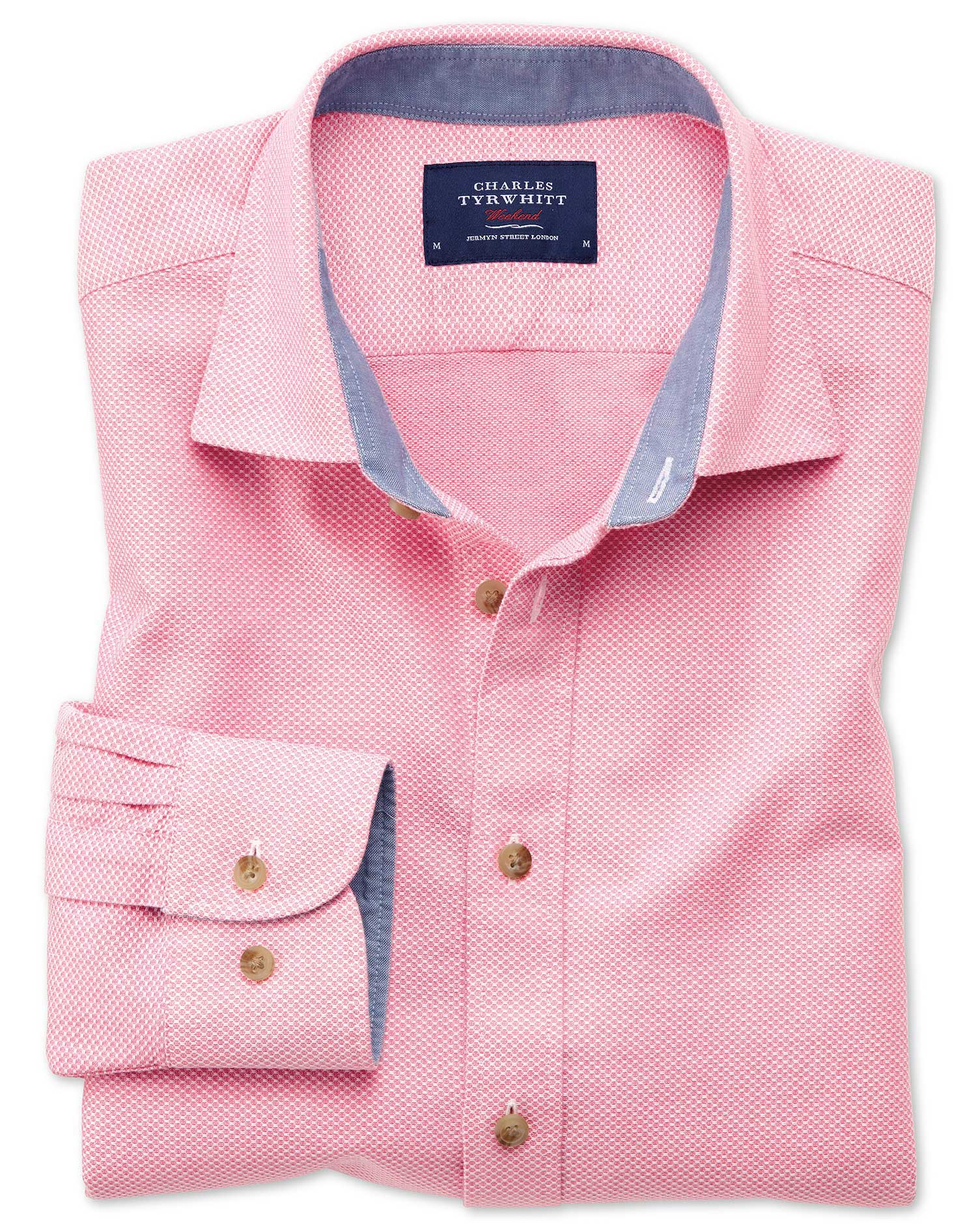 Classic Fit Washed Textured Pink Cotton Shirt Single Cuff Size Large by Charles Tyrwhitt