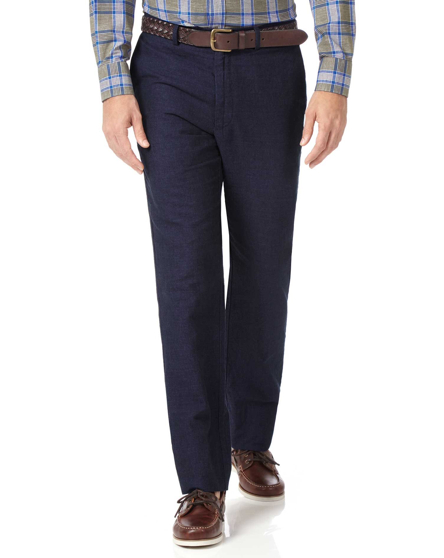 Navy Classic Fit Cotton Linen Trousers Size W38 L32 by Charles Tyrwhitt